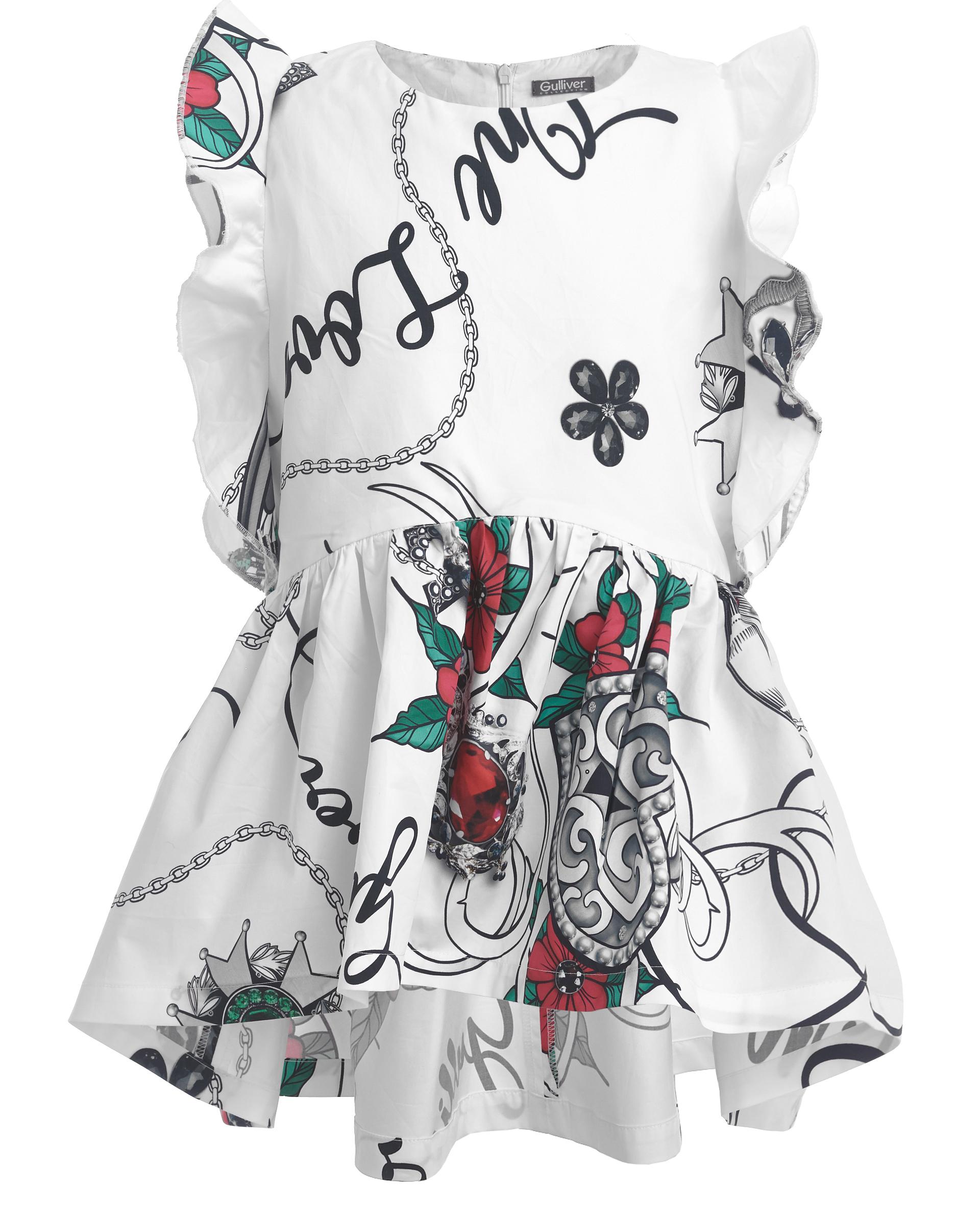 Купить 11908GJC2206, Блузка с цветочным принтом Gulliver, белый, 164, Женский, ВЕСНА/ЛЕТО 2019 (shop: GulliverMarket Gulliver Market)