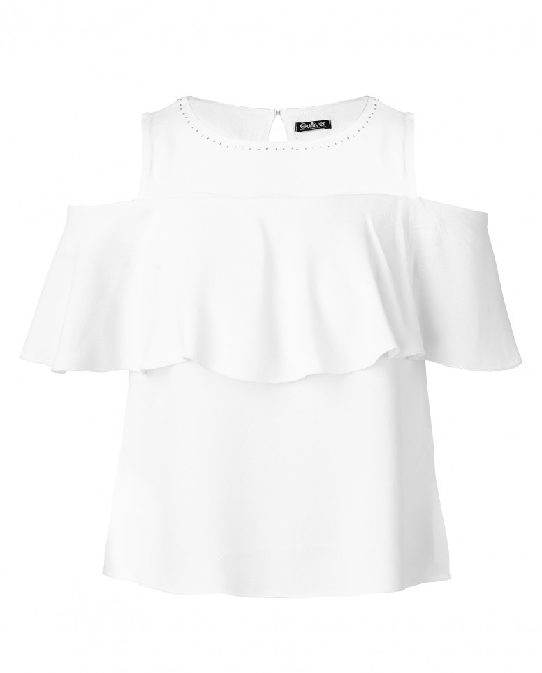 Белая блузка с воланом Gulliver