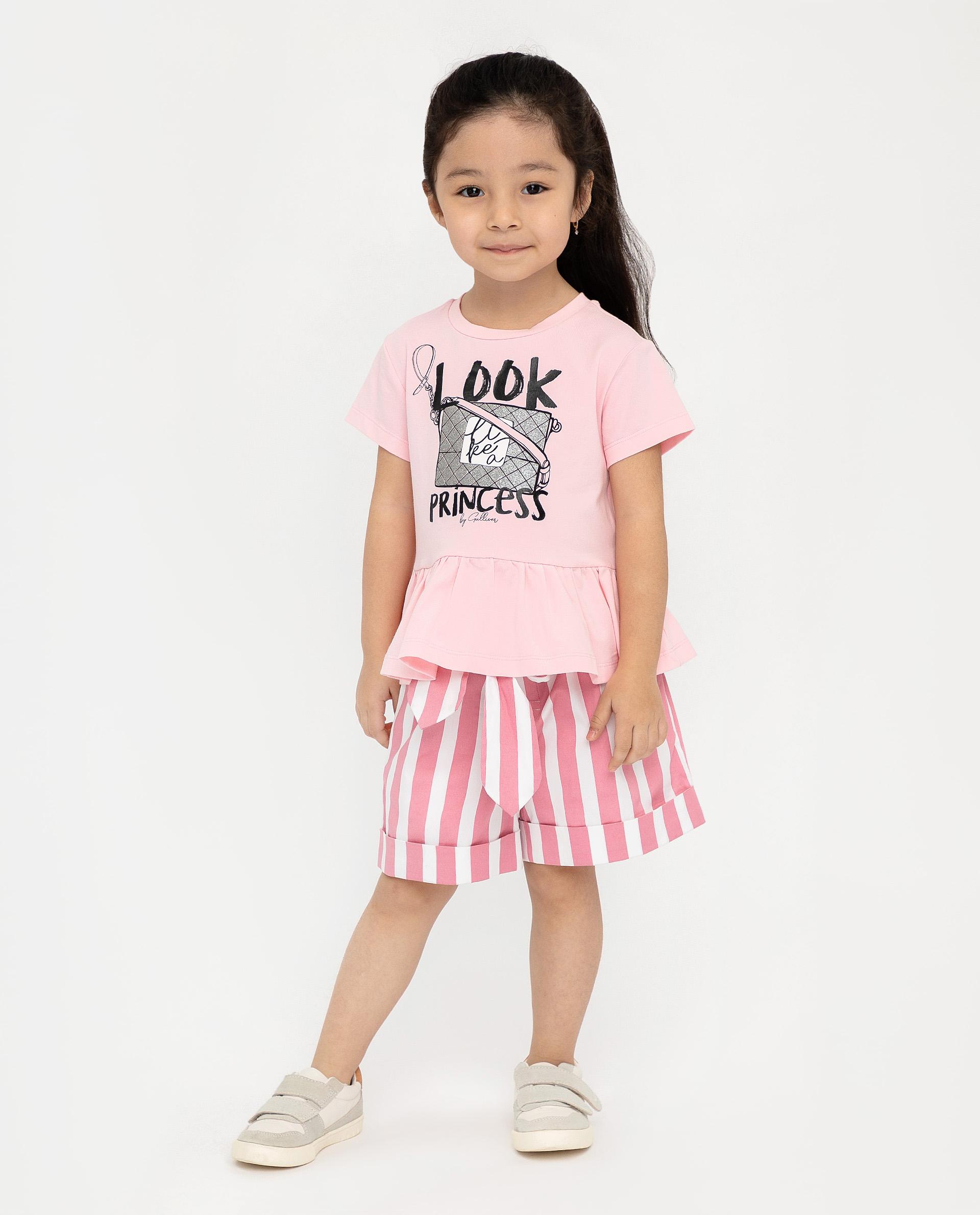 Купить 12001GMC1202, Розовая футболка с коротким рукавом Gulliver, розовый, 110, Женский, ВЕСНА/ЛЕТО 2020 (shop: GulliverMarket Gulliver Market)