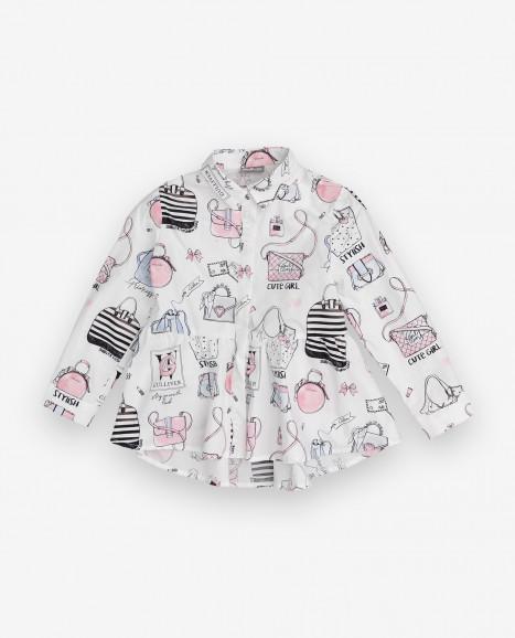 Белая блузка с принтом Gulliver