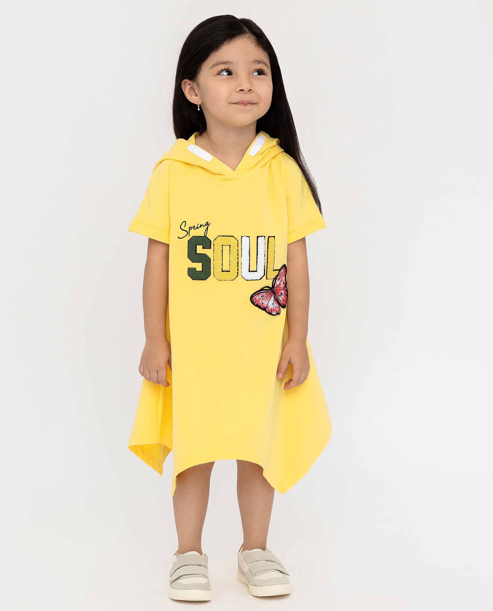 Купить 12002GMC5004, Желтое платье с капюшоном Gulliver, желтый, 116, Женский, ВЕСНА/ЛЕТО 2020 (shop: GulliverMarket Gulliver Market)