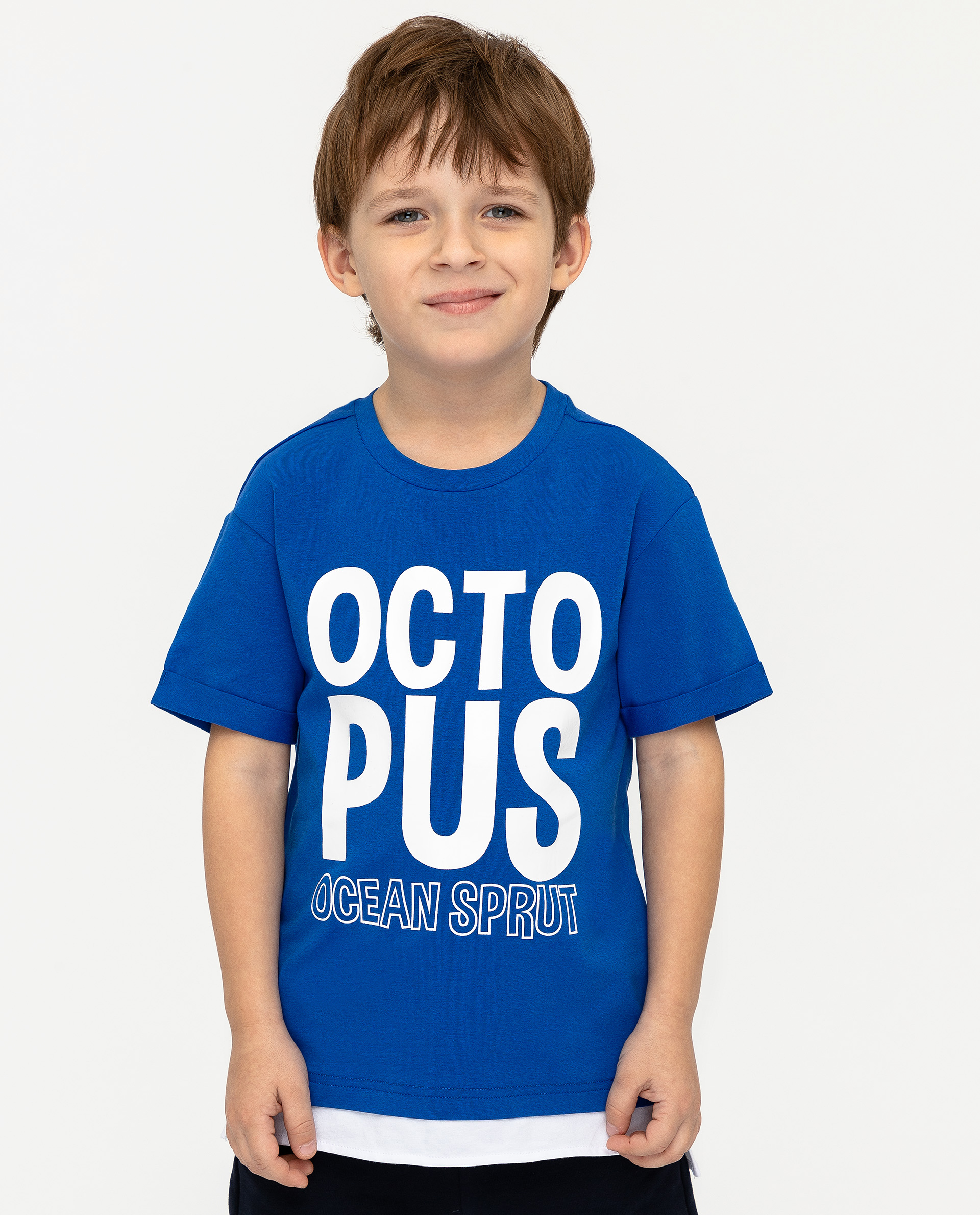 Купить 12004BMC1204, Синяя футболка с принтом Gulliver, синий, 110, Мужской, ВЕСНА/ЛЕТО 2020 (shop: GulliverMarket Gulliver Market)