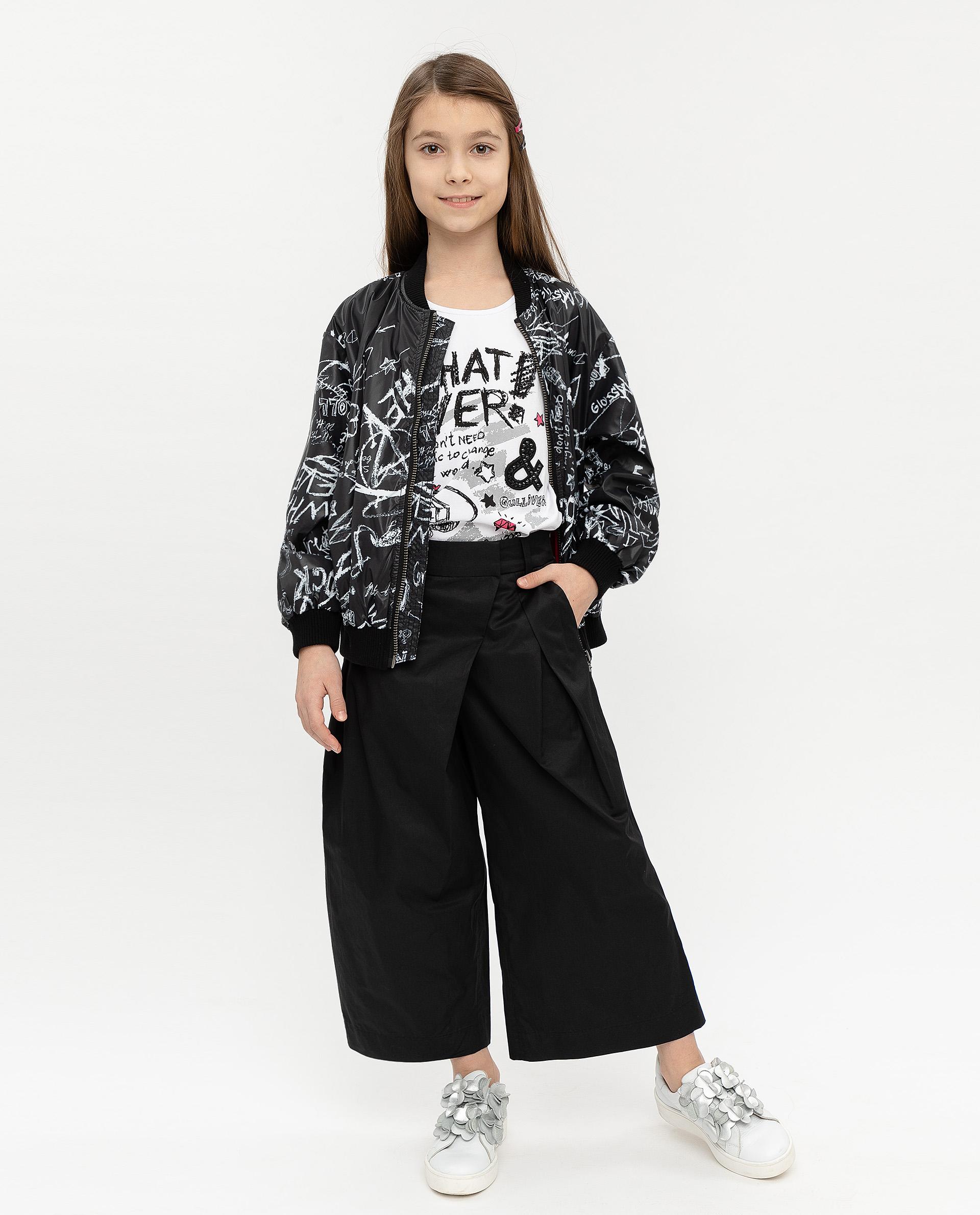 Купить 12007GJC6303, Черные брюки-кюлоты Gulliver, черный, 140, Женский, ВЕСНА/ЛЕТО 2020 (shop: GulliverMarket Gulliver Market)