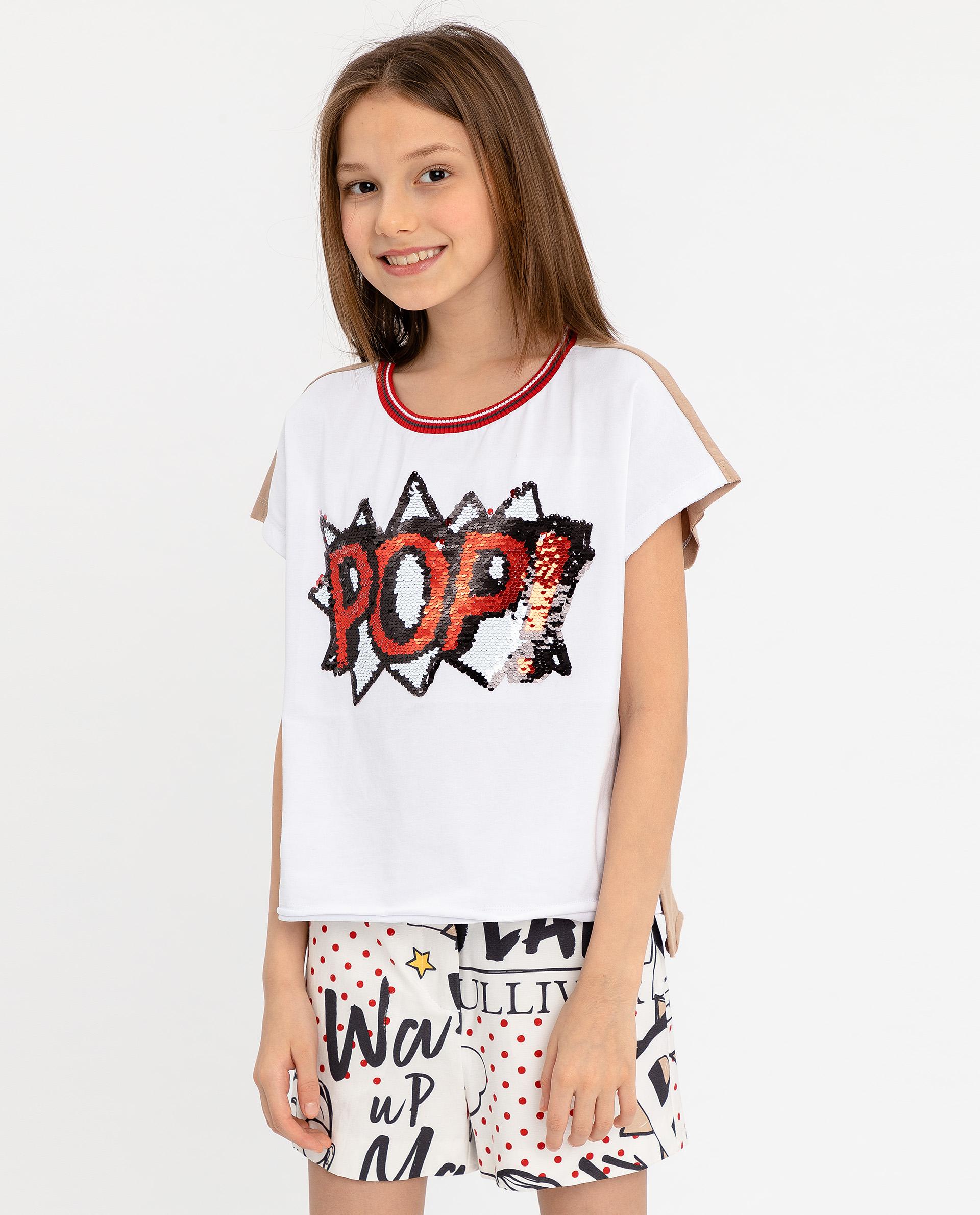 Купить 12008GJC1215, Двухцветная футболка с принтом Gulliver, белый, 164, Женский, ВЕСНА/ЛЕТО 2020 (shop: GulliverMarket Gulliver Market)