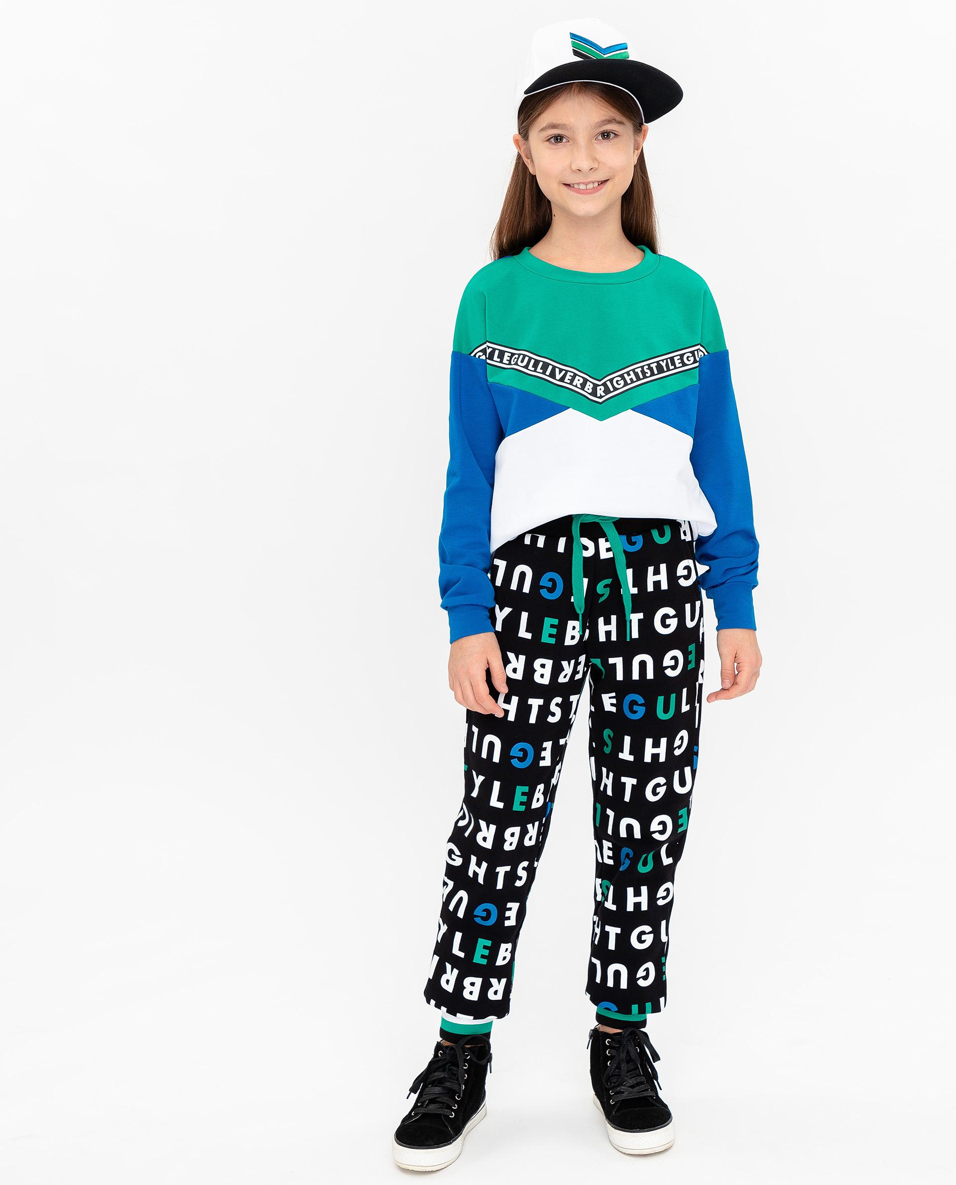 Купить 12009GJC5601, Черные брюки с принтом Gulliver, черный, 140, Женский, ВЕСНА/ЛЕТО 2020 (shop: GulliverMarket Gulliver Market)
