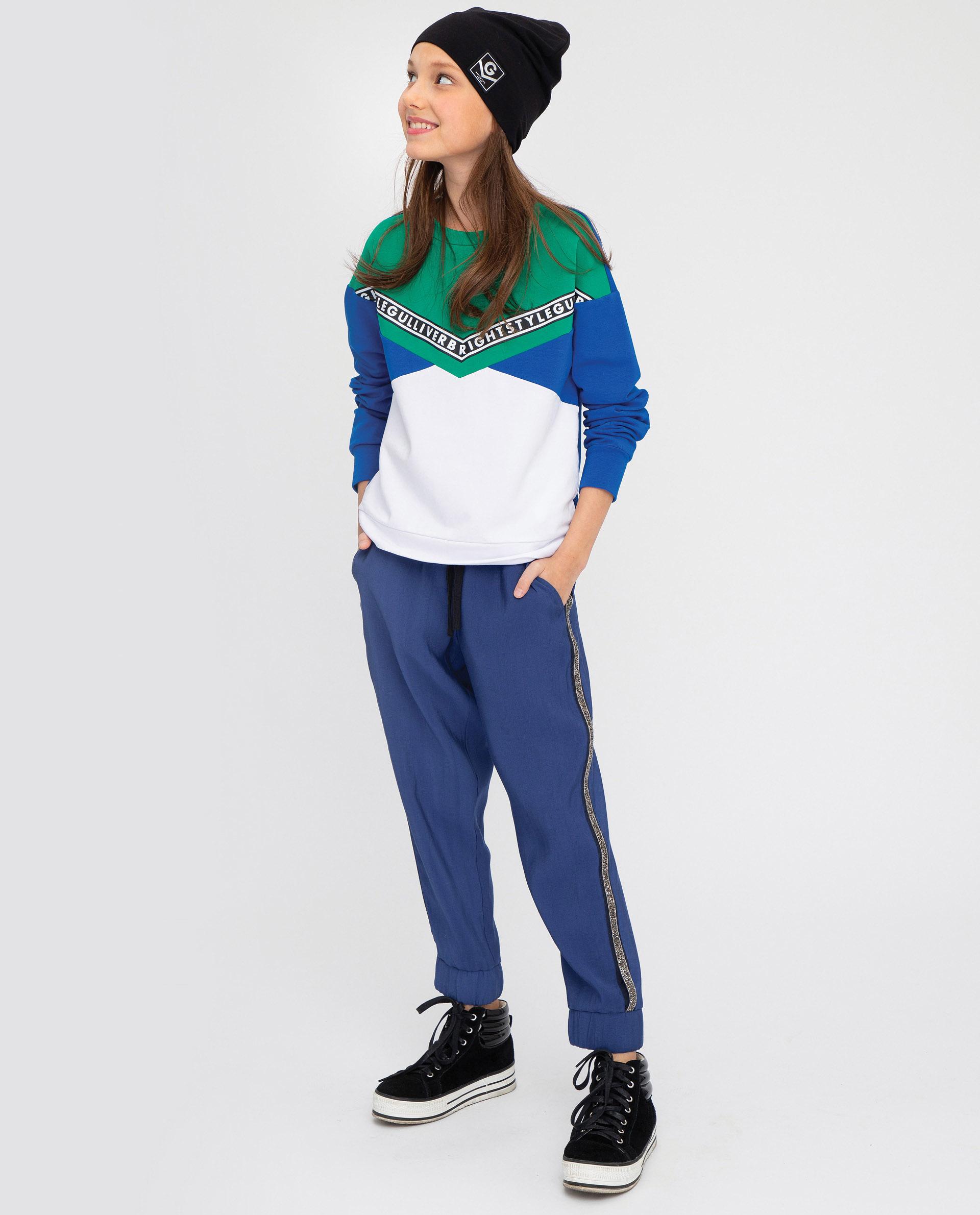 Купить 12009GJC6304, Синие брюки Gulliver, синий, 146, Женский, ВЕСНА/ЛЕТО 2020 (shop: GulliverMarket Gulliver Market)