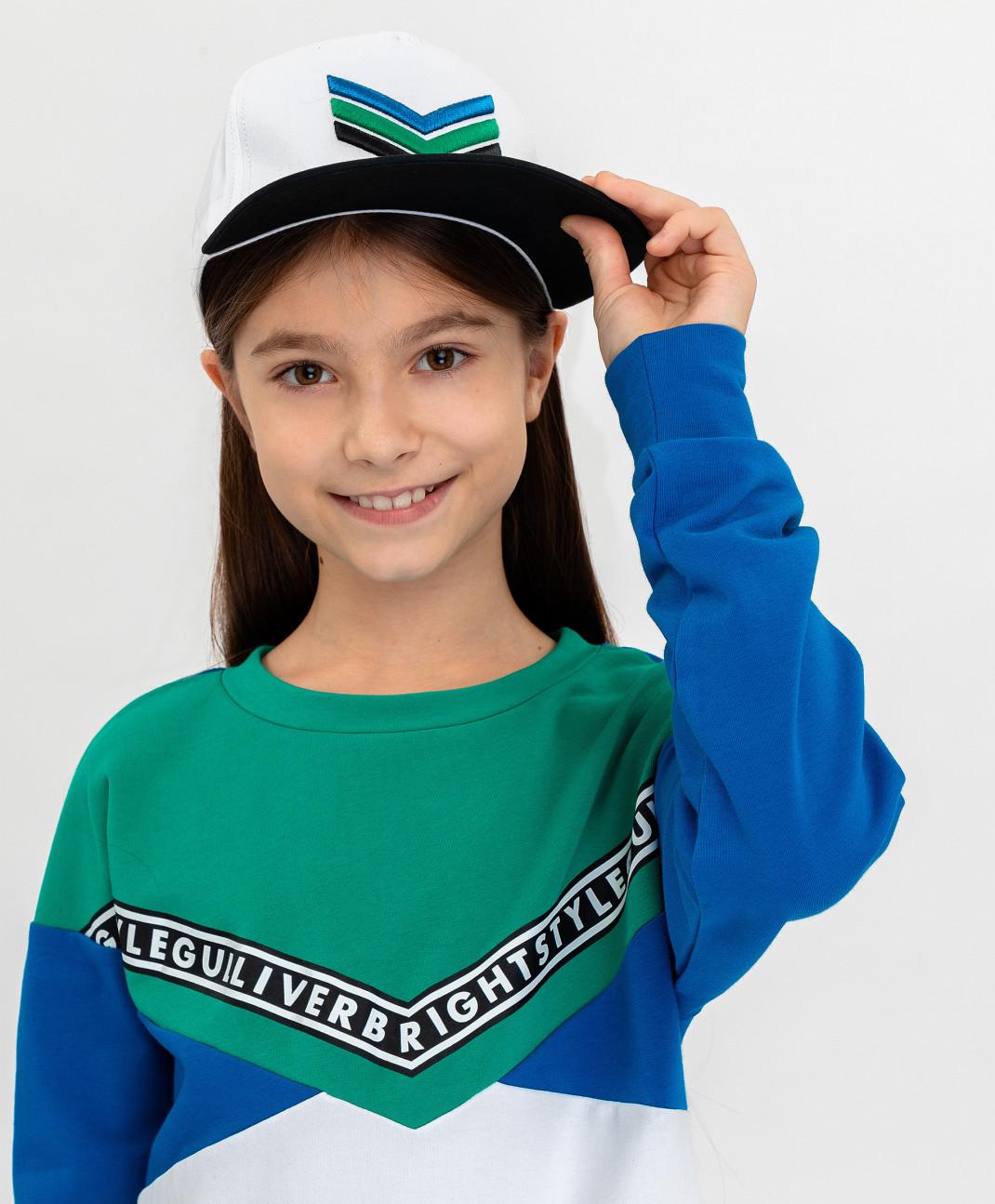 Gulliver Белая бейсболка с зеленым козырьком Gulliver