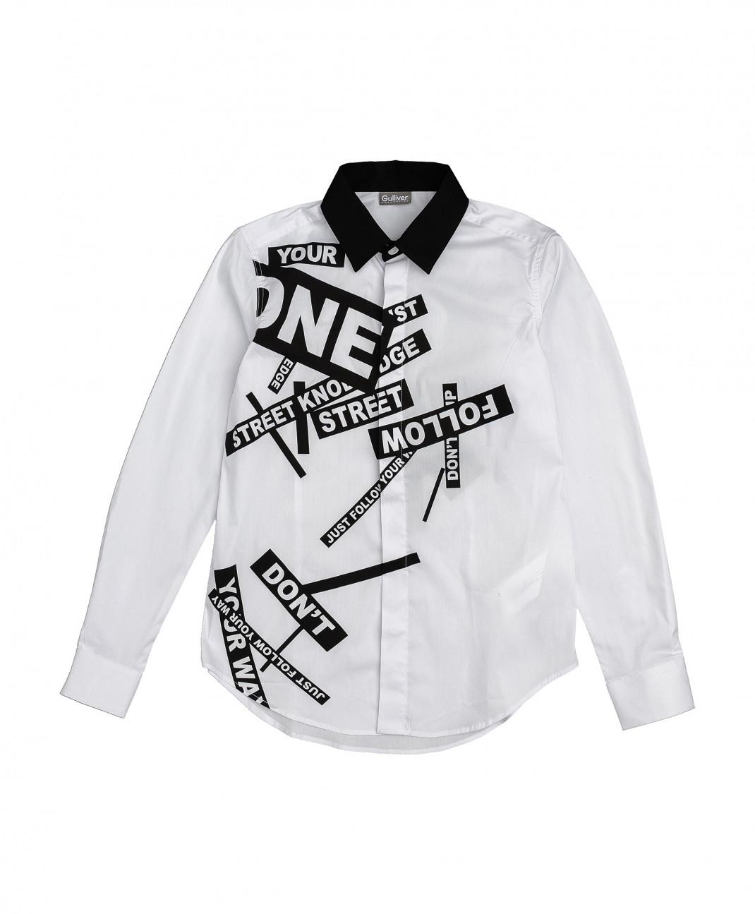 Gulliver Белая рубашка с принтом Gulliver