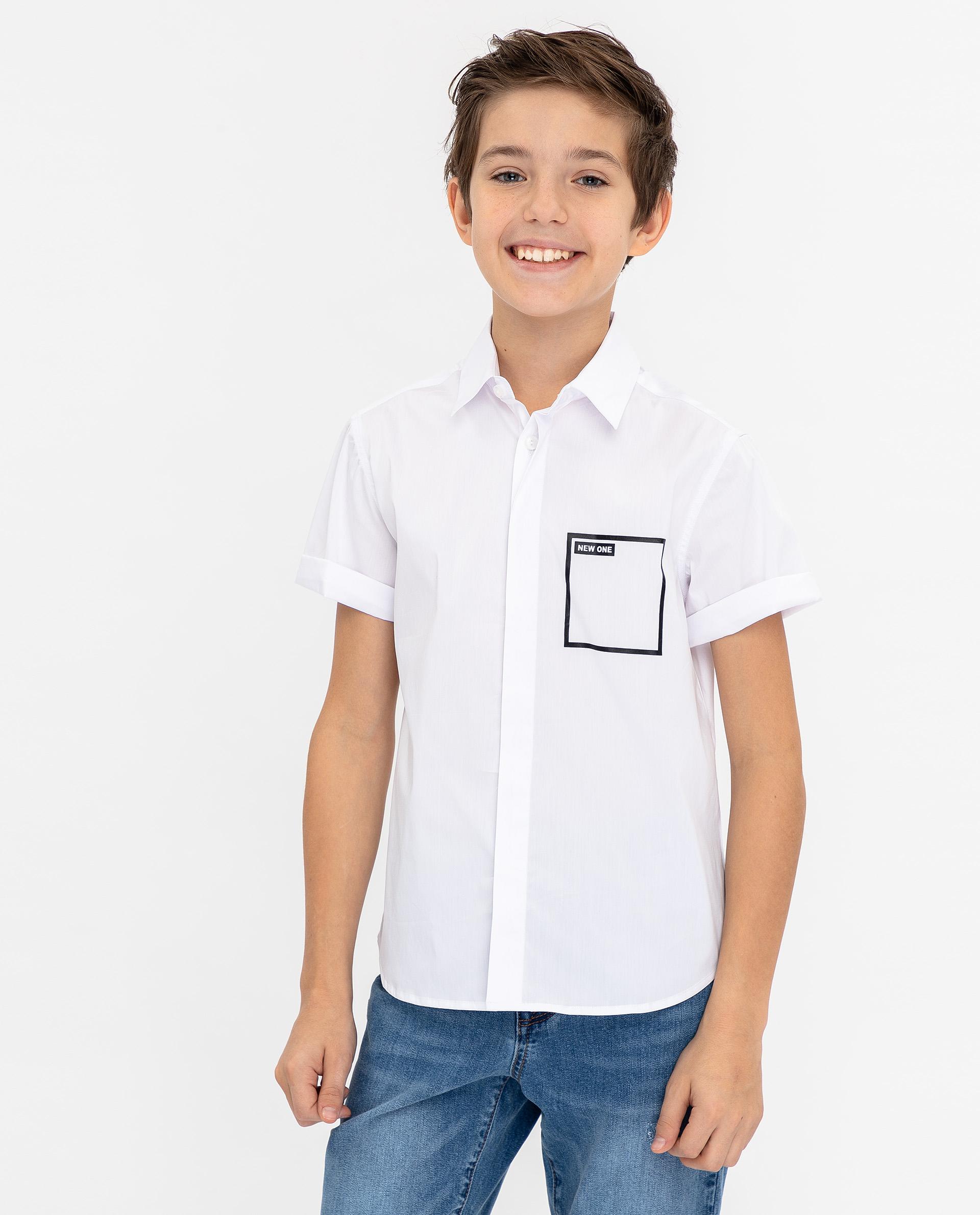 Купить 12011BJC2304, Белая рубашка с коротким рукавом Gulliver, белый, 170, Мужской, ВЕСНА/ЛЕТО 2020 (shop: GulliverMarket Gulliver Market)