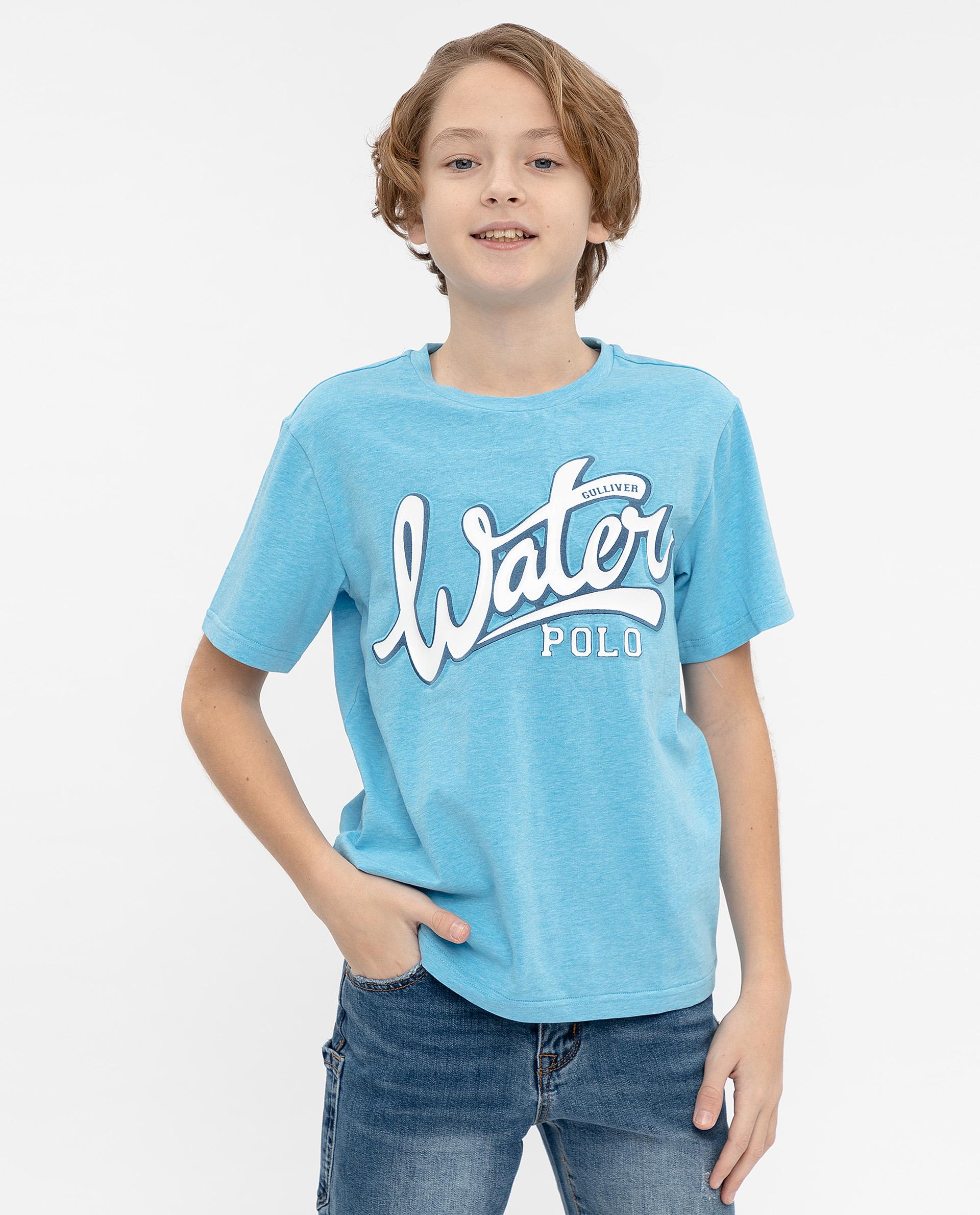 Купить 12012BJC1215, Голубая футболка с принтом Gulliver, голубой, 158, Мужской, ВЕСНА/ЛЕТО 2020 (shop: GulliverMarket Gulliver Market)