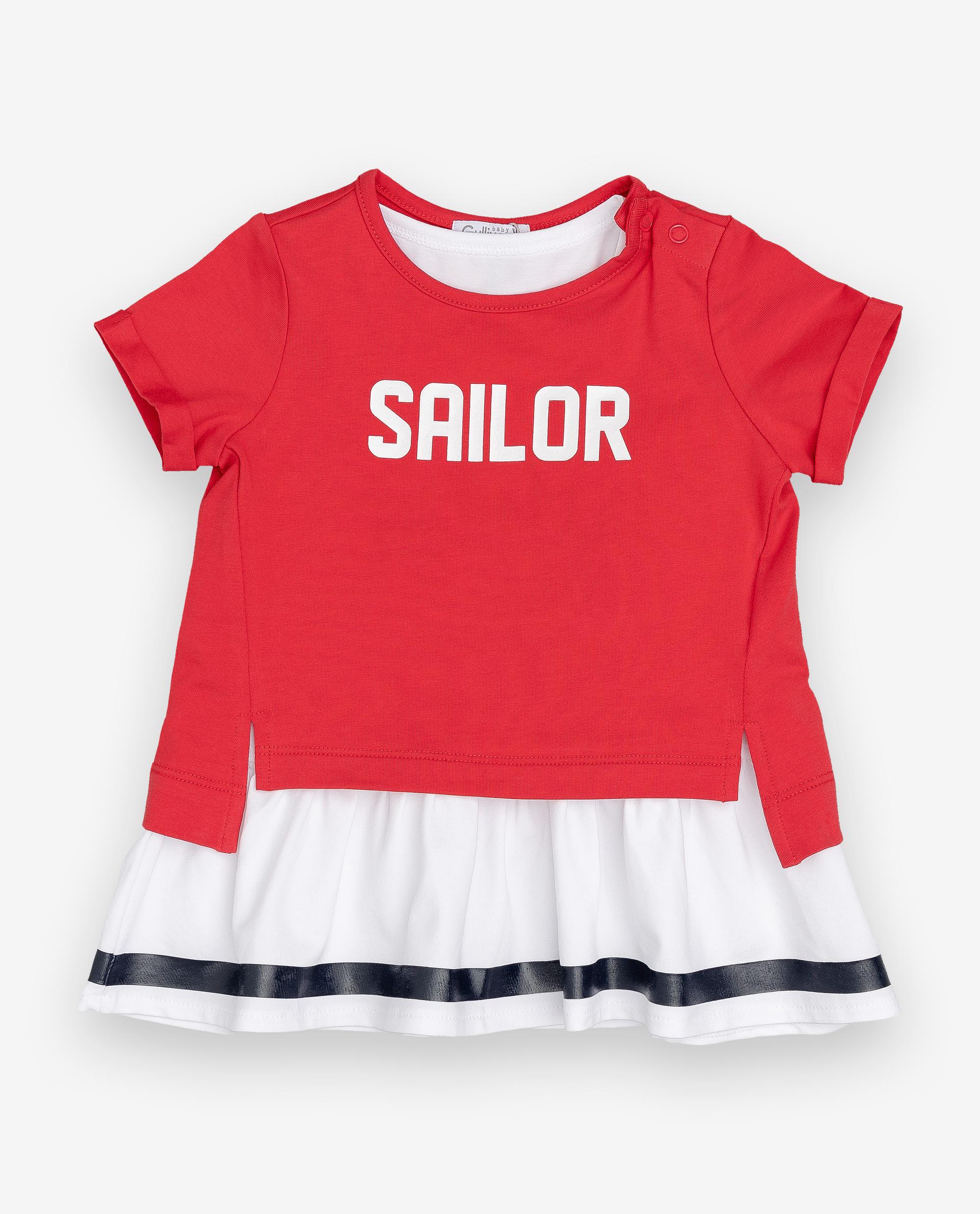 Купить 12032GBC5005, Комплект из платья и футболки Gulliver, Gulliver Baby, красный, 86, Женский, ВЕСНА/ЛЕТО 2020 (shop: GulliverMarket Gulliver Market)