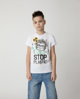 Футболка Stop Plastic для мальчика Gulliver Gulliver Wear 120FBJC1204 белого цвета
