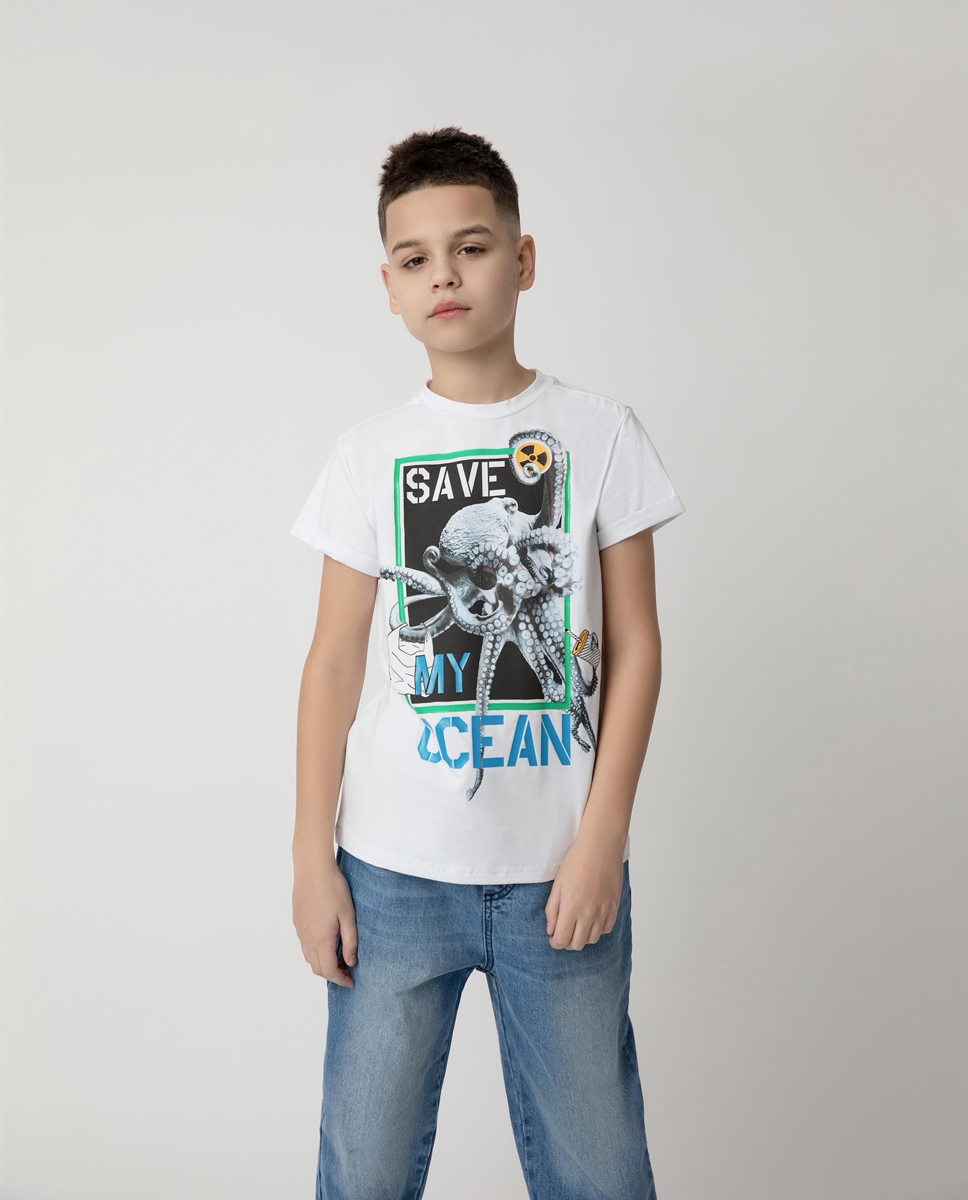 120FBJC1206, Футболка Save My Ocean для мальчика Gulliver, белый, 164, Мужской, ВЕСНА/ЛЕТО 2020  - купить со скидкой