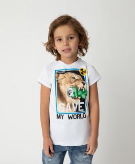 Футболка Save My World для мальчика Gulliver Gulliver Wear 120FBMC1205 белого цвета