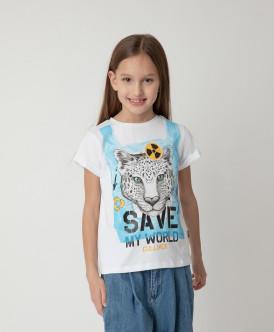Футболка Save My World для девочки Gulliver Gulliver Wear 120FGJC1204 белого цвета