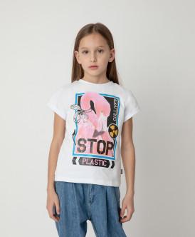Футболка Stop Plastic для девочки Gulliver Gulliver Wear 120FGJC1205 белого цвета