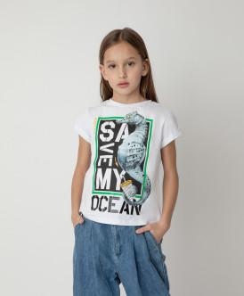 Футболка Save My Ocean для девочки Gulliver Gulliver Wear 120FGJC1206 белого цвета