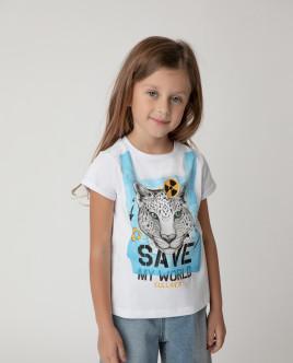 Футболка Save My World для девочки Gulliver Gulliver Wear 120FGMC1204 белого цвета