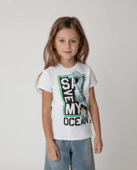 Футболка Save My Ocean для девочки Gulliver Gulliver Wear 120FGMC1206 белого цвета