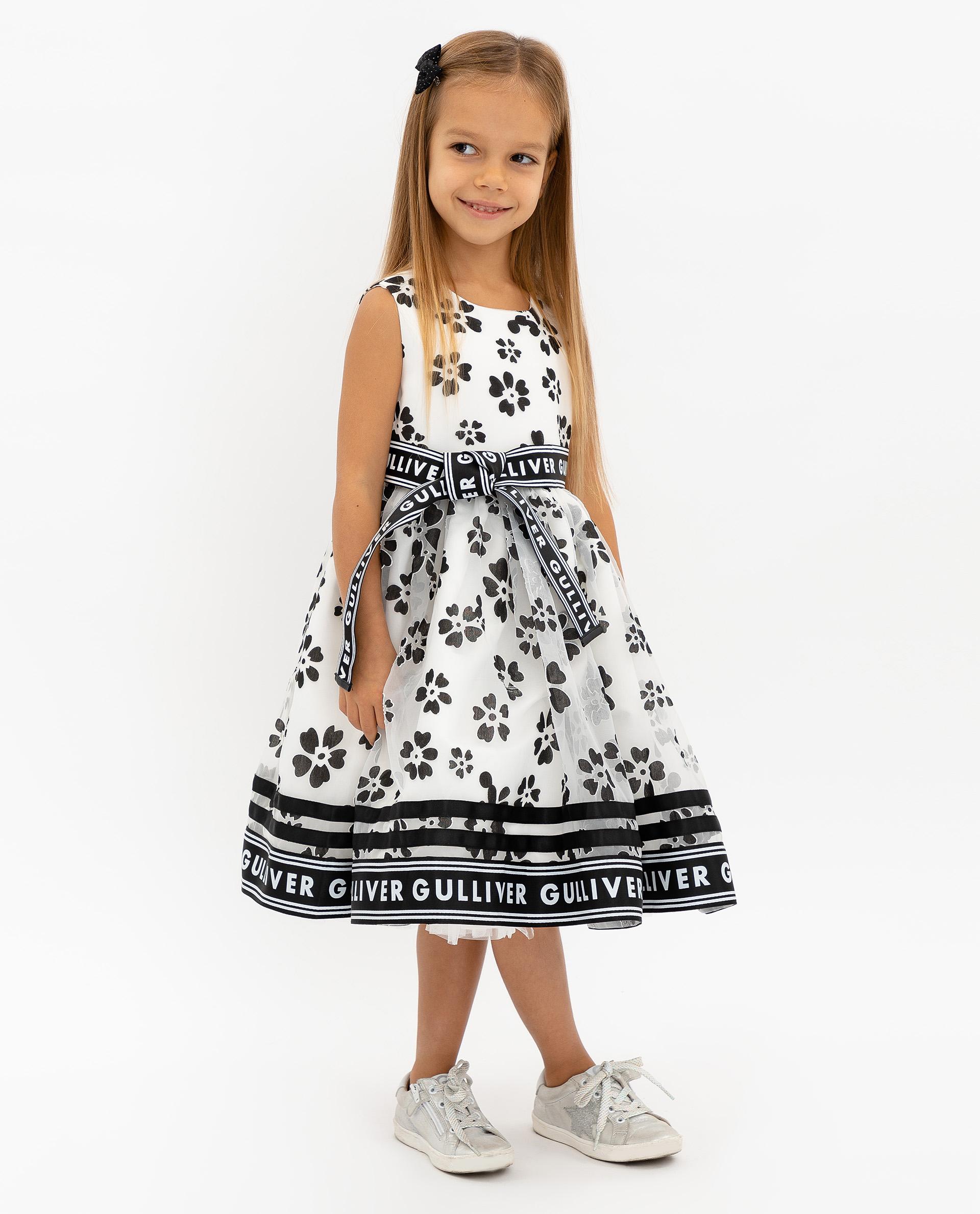 Купить 120GPGMC2505, Белое нарядное платье с принтом Gulliver, белый, 128, Женский, ВЕСНА/ЛЕТО 2020 (shop: GulliverMarket Gulliver Market)