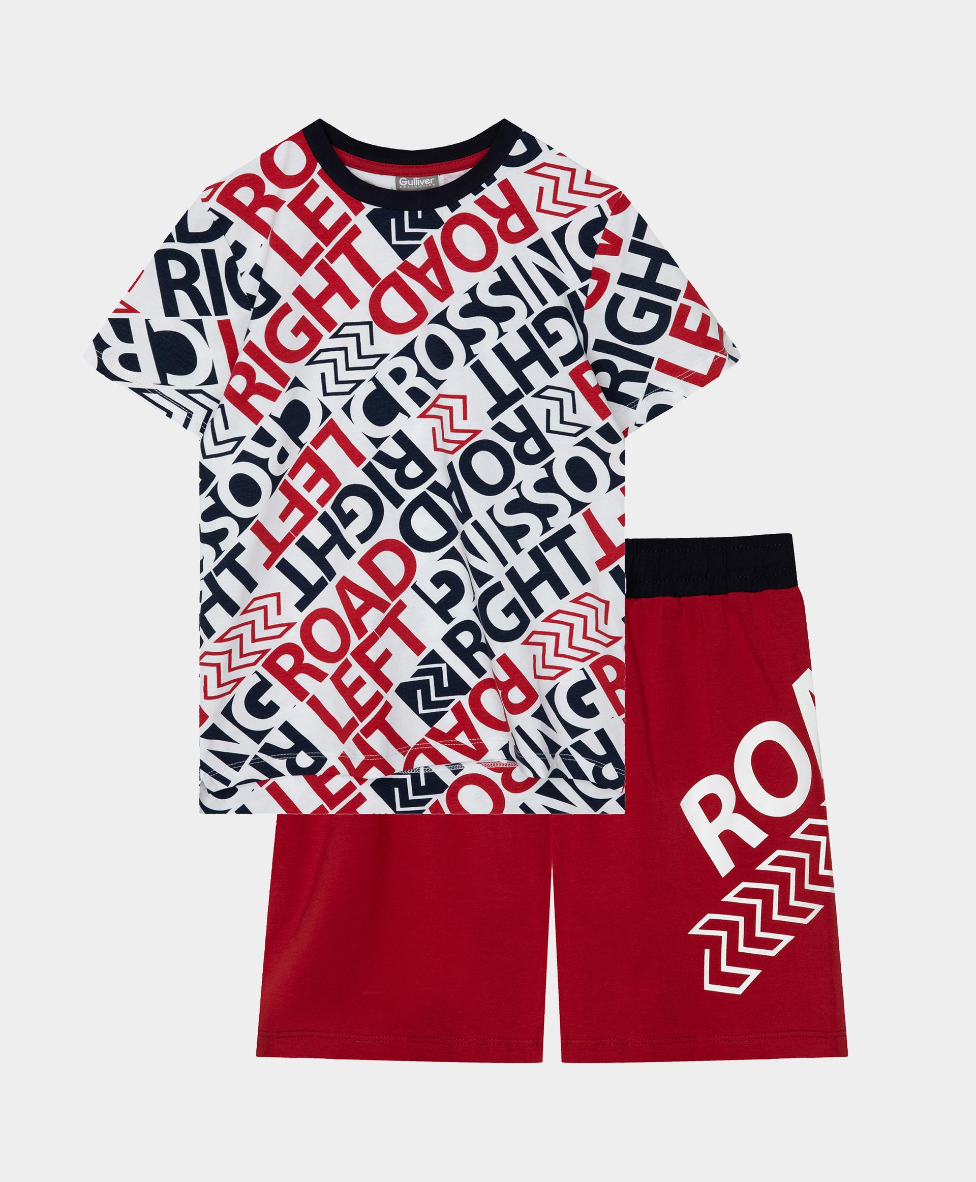 Купить 12100BC9701, Пижама с шортами с принтом Gulliver, мультицвет, 158-164, Хлопок, Мужской, Лето, ВЕСНА/ЛЕТО 2021 (shop: GulliverMarket Gulliver Market)