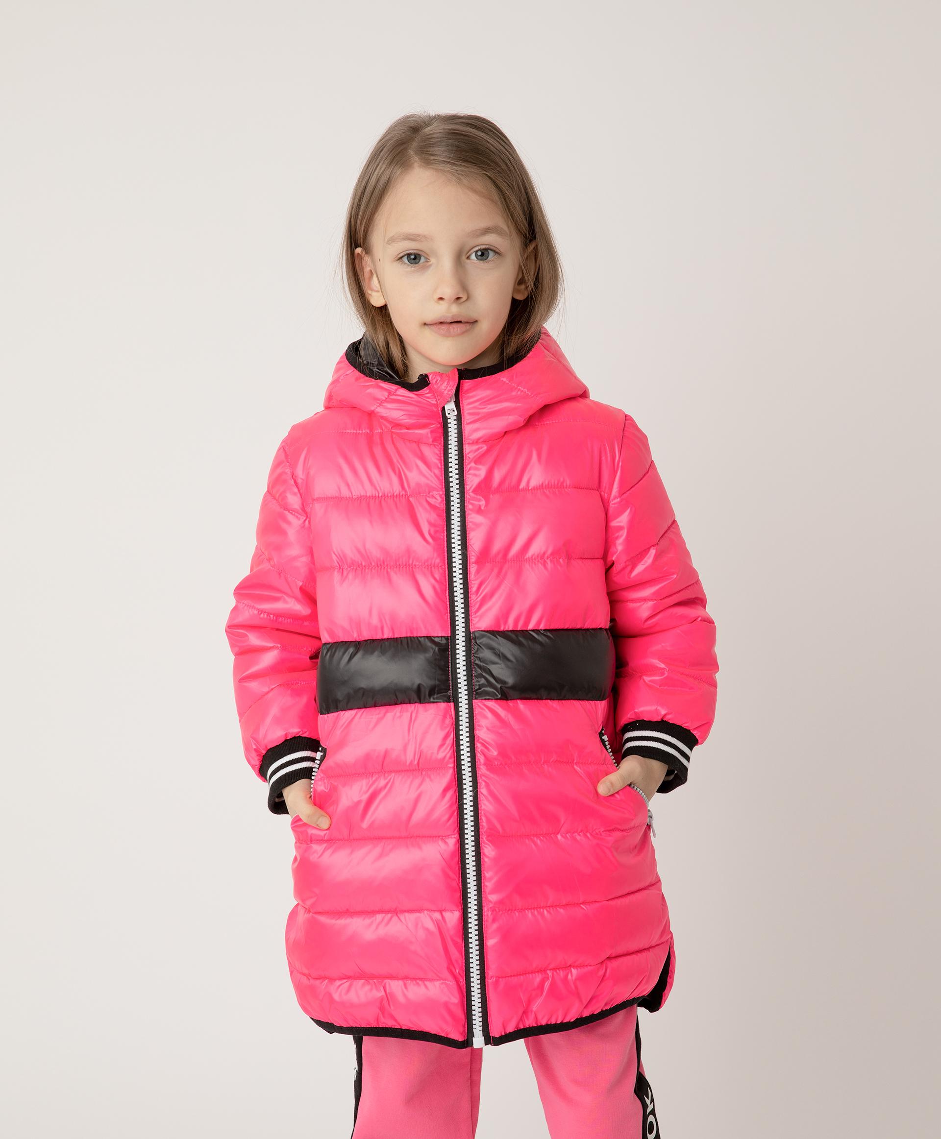 Купить 12103GMC4503, Полупальто розовое с поясом и капюшоном Gulliver, розовый, 116, Полиэстер, Женский, Демисезон, ВЕСНА/ЛЕТО 2021 (shop: GulliverMarket Gulliver Market)