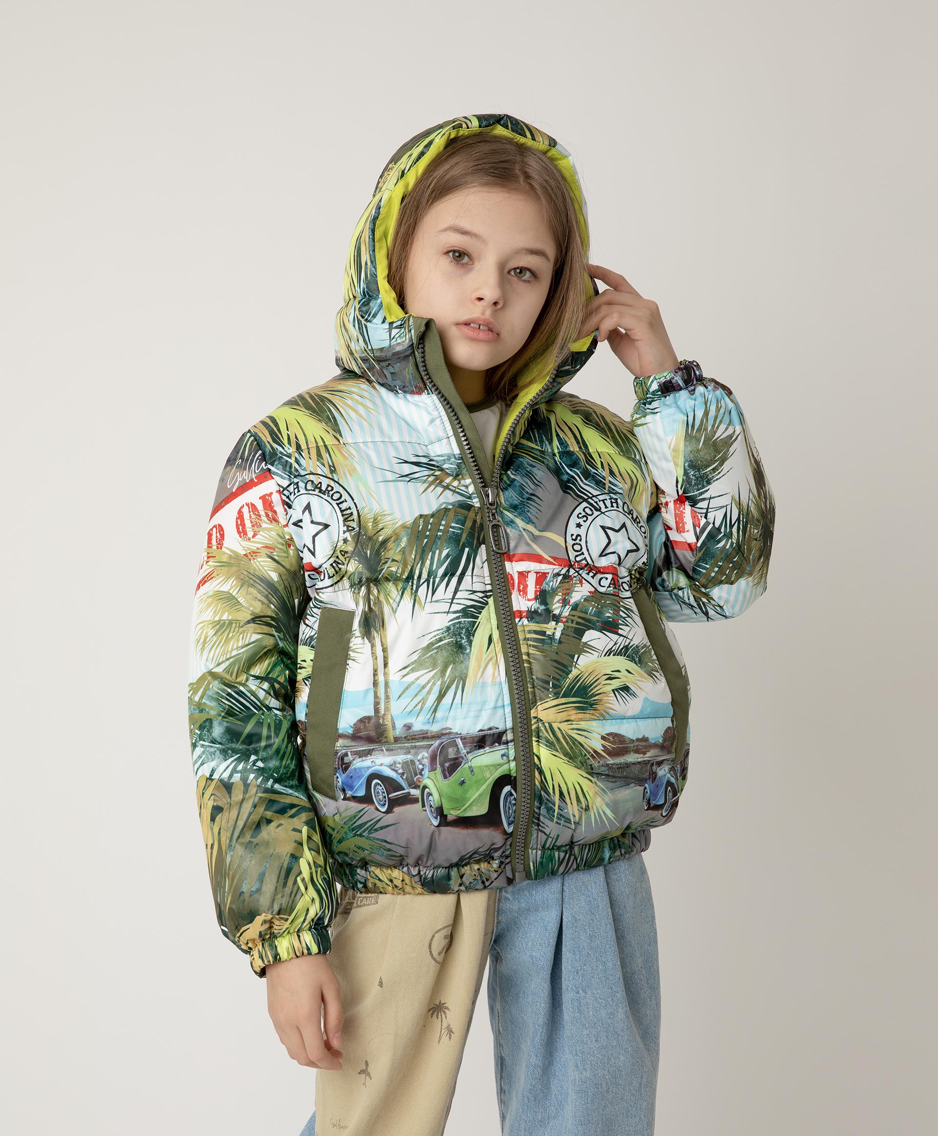 Купить 12108GJC4101, Куртка демисезонная с принтом и капюшоном Gulliver, мультицвет, 140, Полиэстер, Женский, Демисезон, ВЕСНА/ЛЕТО 2021 (shop: GulliverMarket Gulliver Market)