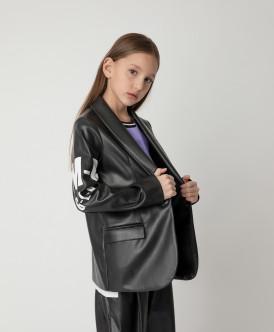 Пиджак черный с принтом Gulliver