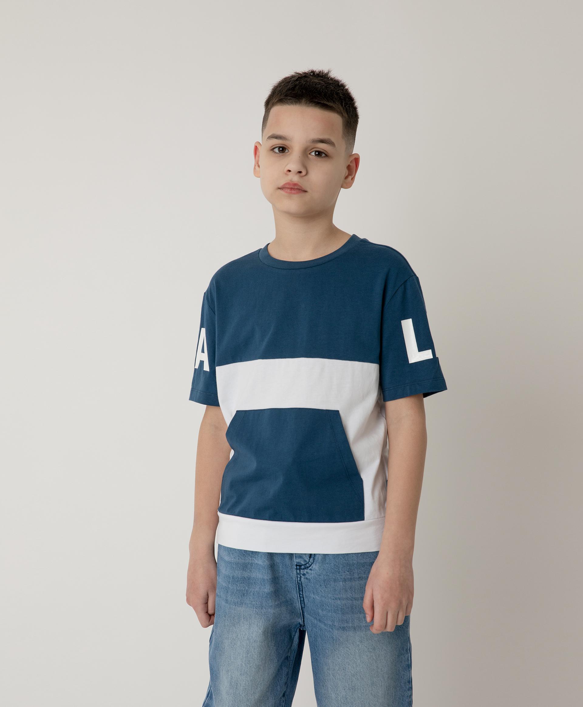 Купить 12112BJC1218, Футболка сине-белая с карманом Gulliver, мультицвет, 158, Хлопок, Мужской, Лето, ВЕСНА/ЛЕТО 2021 (shop: GulliverMarket Gulliver Market)
