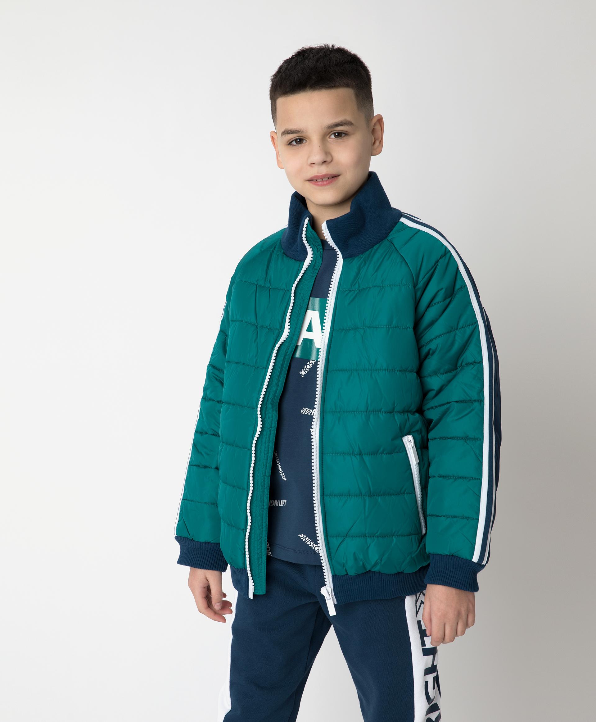 Куртка демисезонная сине-зеленая Gulliver 12112BJC4102 зеленого цвета