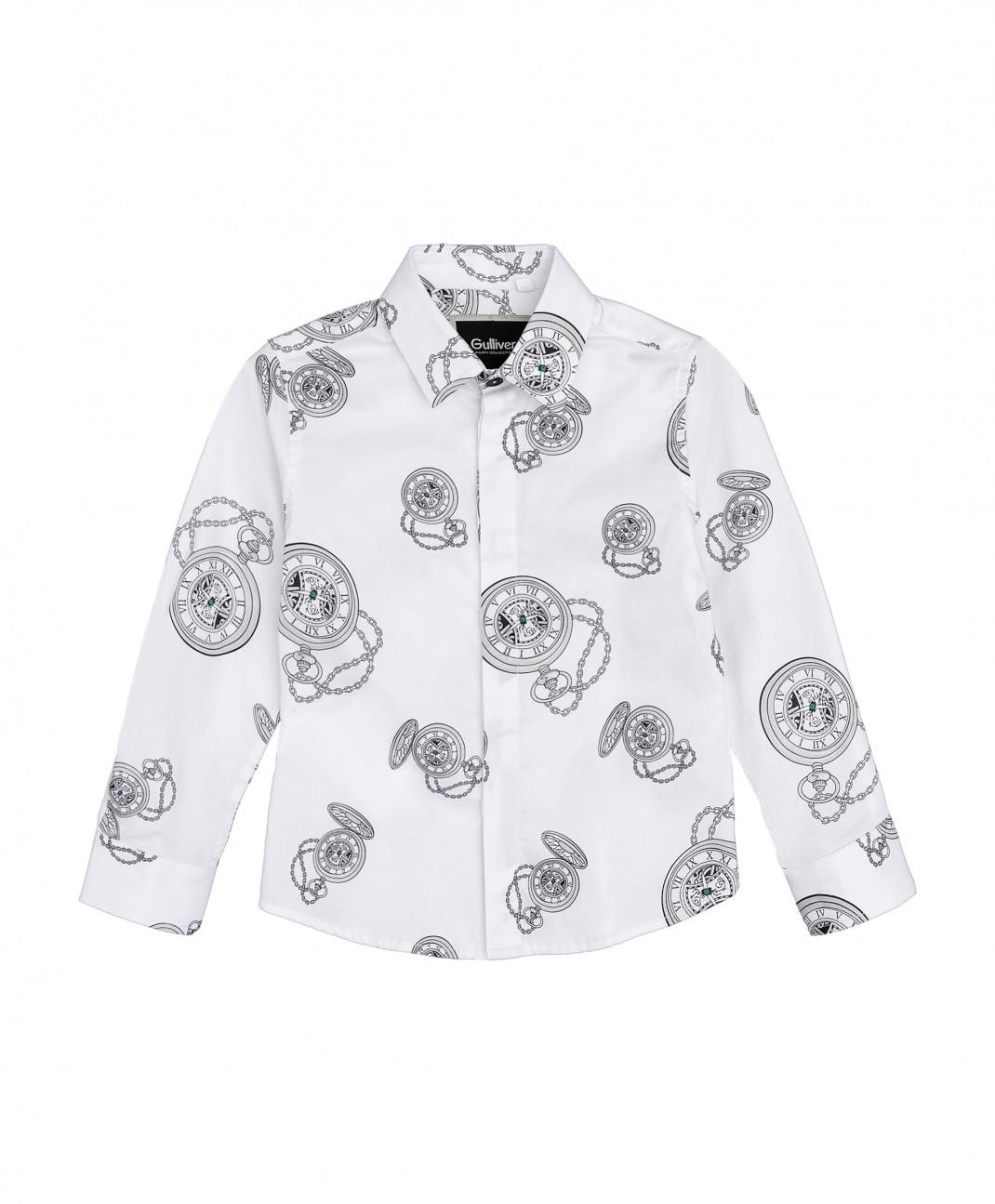 Gulliver Baby Белая рубашка с орнаментом Gulliver