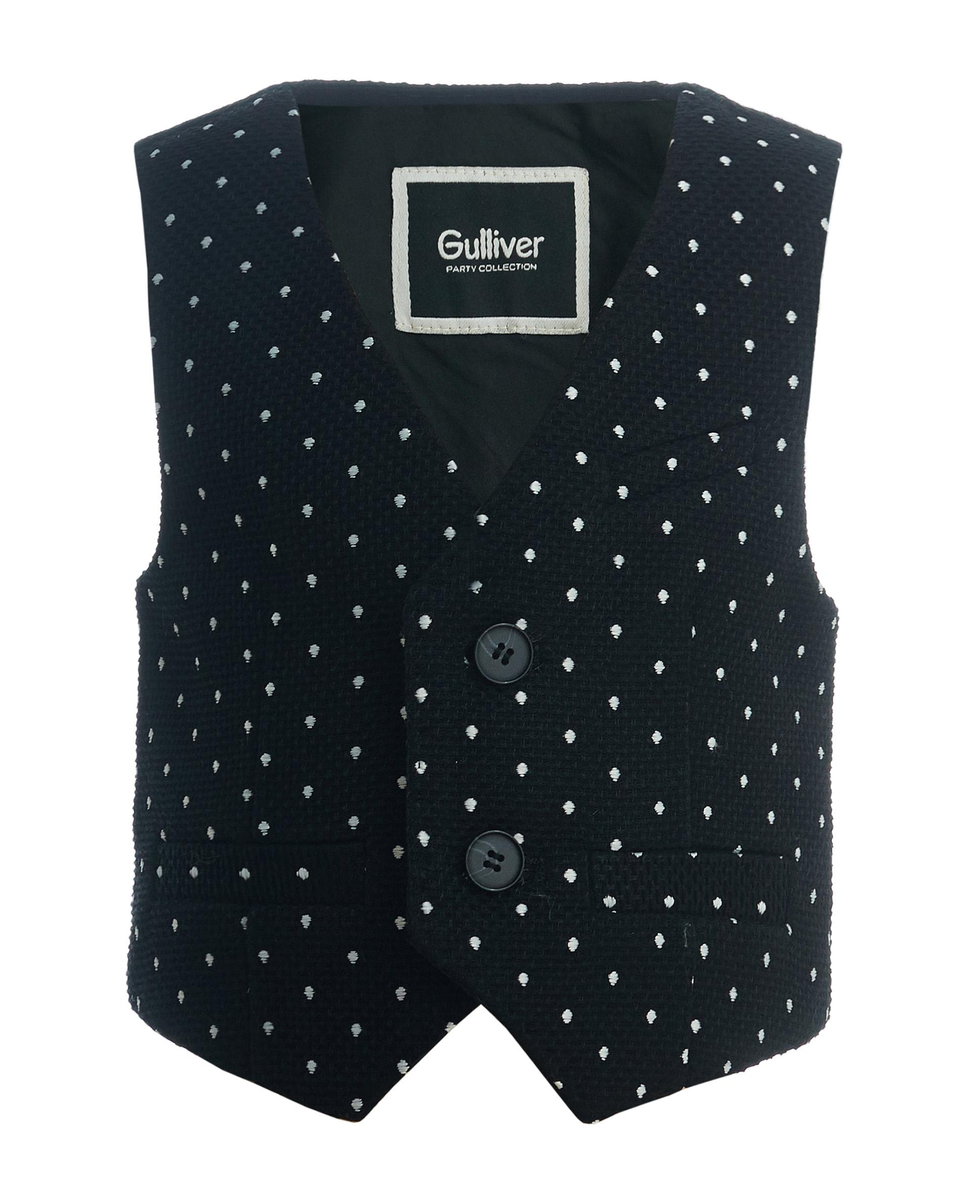 Купить 219GPBBC4701, Черный жилет в горошек Gulliver, Gulliver Baby, черный, 86, Мужской, ОСЕНЬ/ЗИМА 2020-2021 (shop: GulliverMarket Gulliver Market)