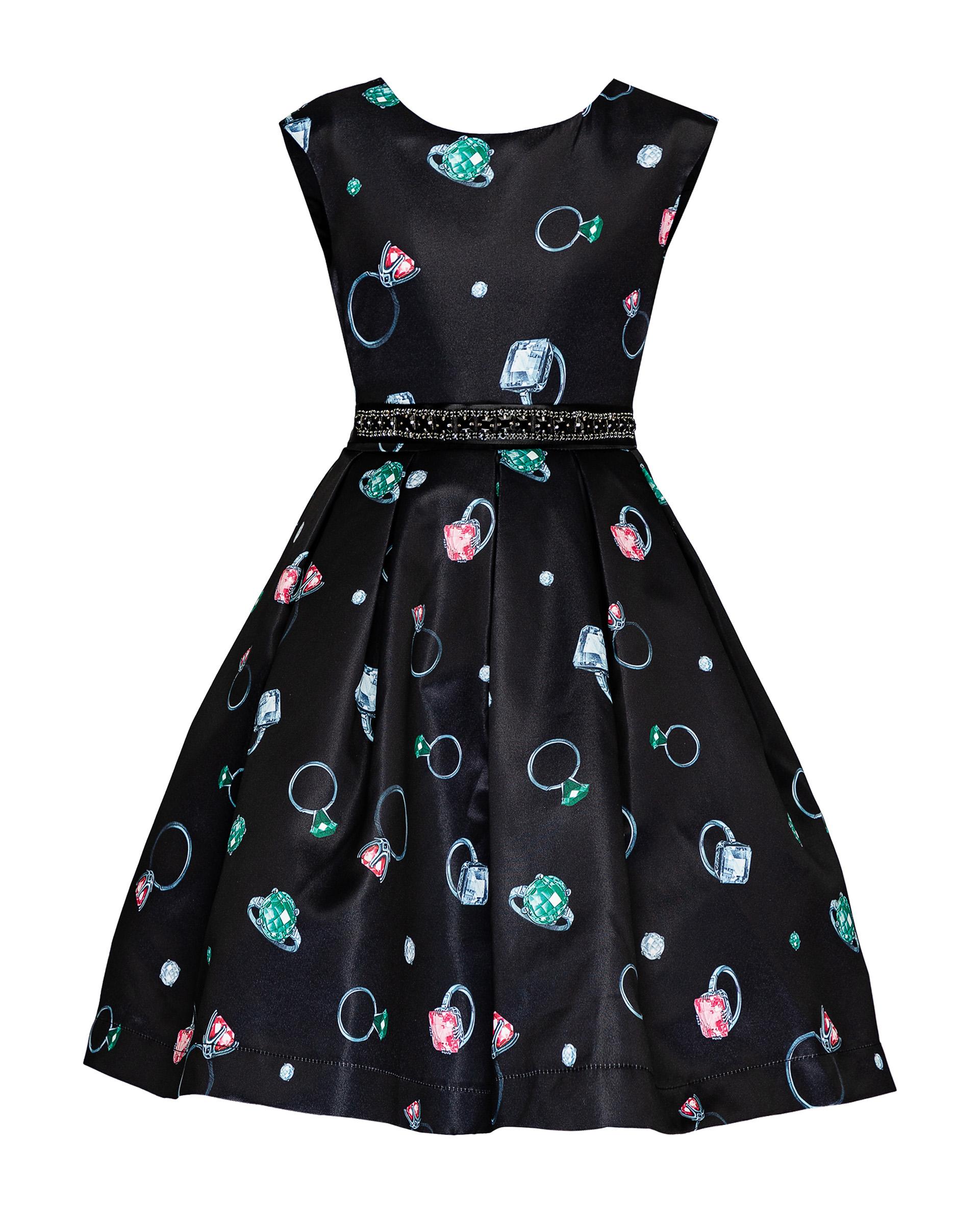 Купить 219GPGMC2503, Черное нарядное платье с орнаментом Gulliver, черный, 116, Женский, ОСЕНЬ/ЗИМА 2019-2020 (shop: GulliverMarket Gulliver Market)