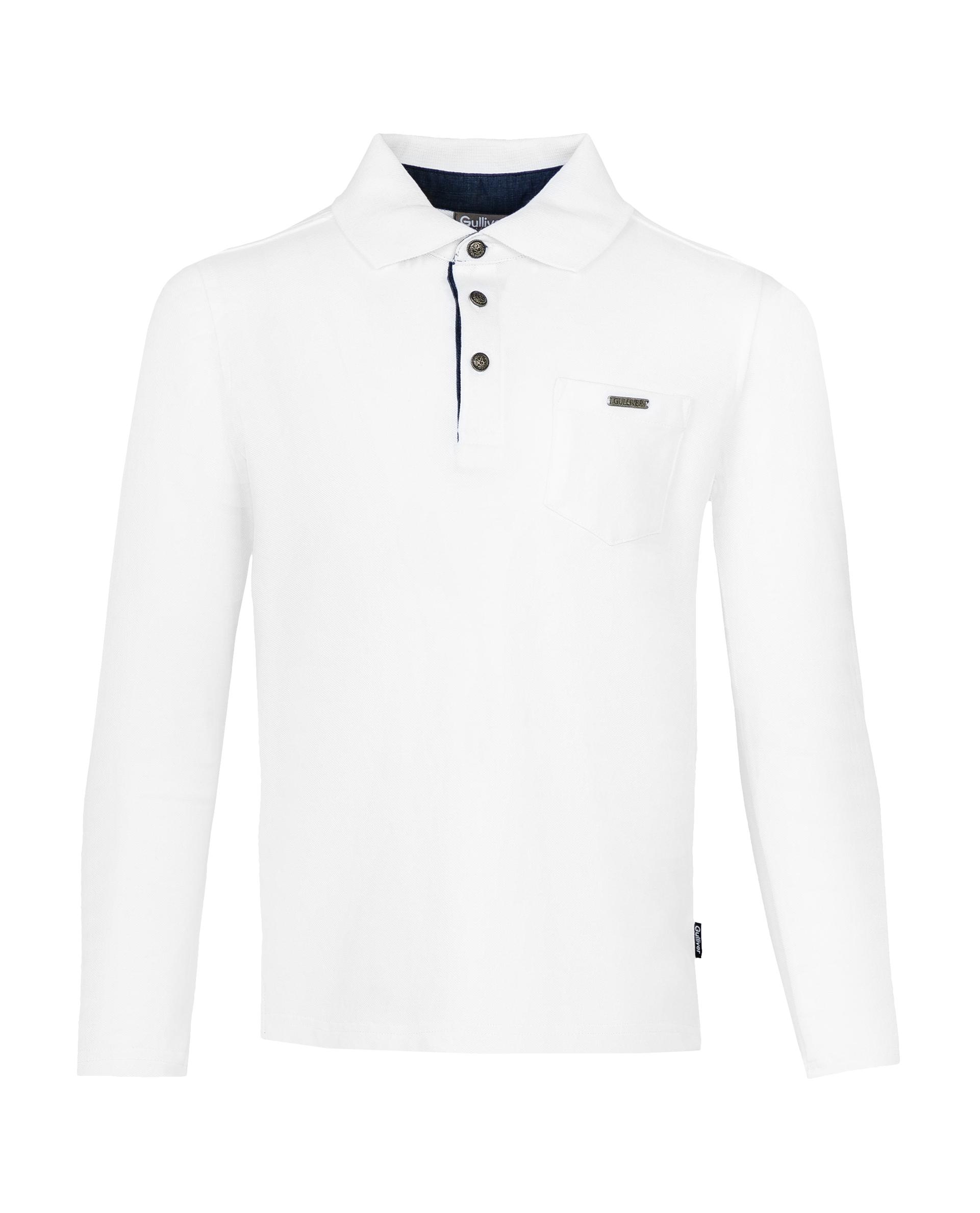 Купить 219GSBC1401, Белое поло с длинным рукавом Gulliver, белый, 122, Мужской, ШКОЛЬНАЯ ФОРМА 2019-2020 (shop: GulliverMarket Gulliver Market)