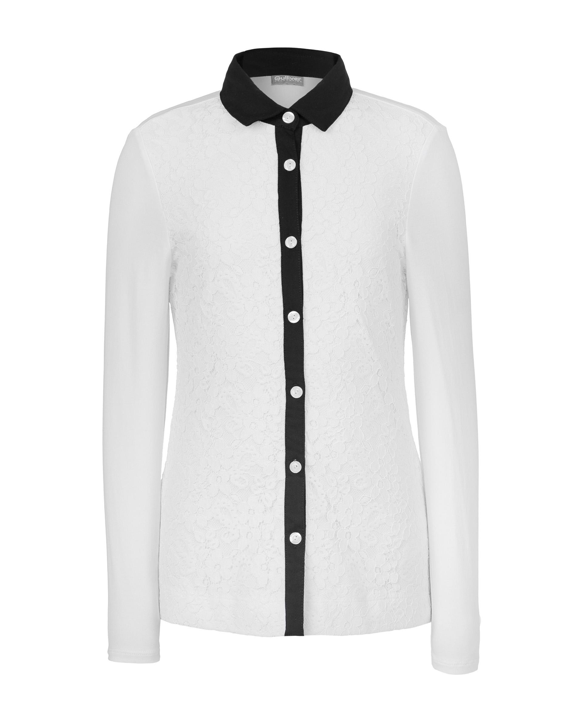 Купить 219GSGC1403, Рубашка с кружевом Gulliver, белый, 170, Женский, ШКОЛЬНАЯ ФОРМА 2019-2020 (shop: GulliverMarket Gulliver Market)