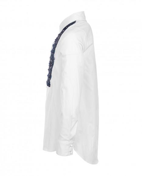 Белая блузка с синим кружевом Gulliver