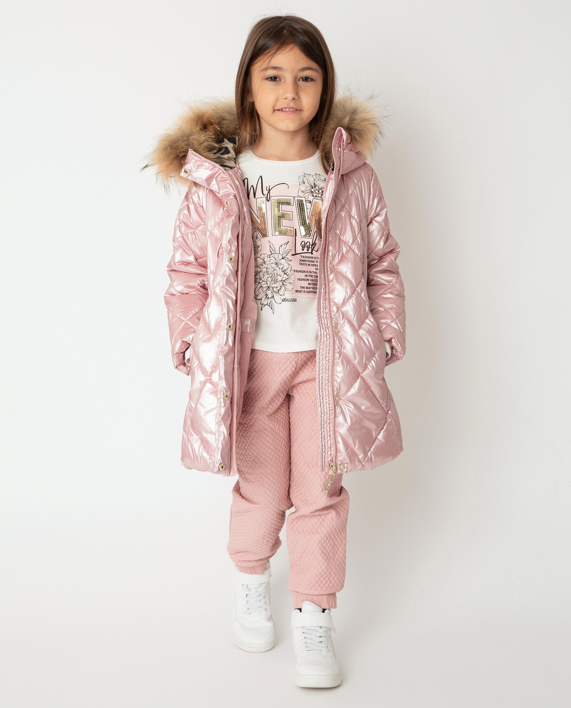 Купить 22001GMC4504, Розовое пальто зимнее Gulliver, розовый, 128, Полиамид, Женский, Зима, ОСЕНЬ/ЗИМА 2020-2021 (shop: GulliverMarket Gulliver Market)