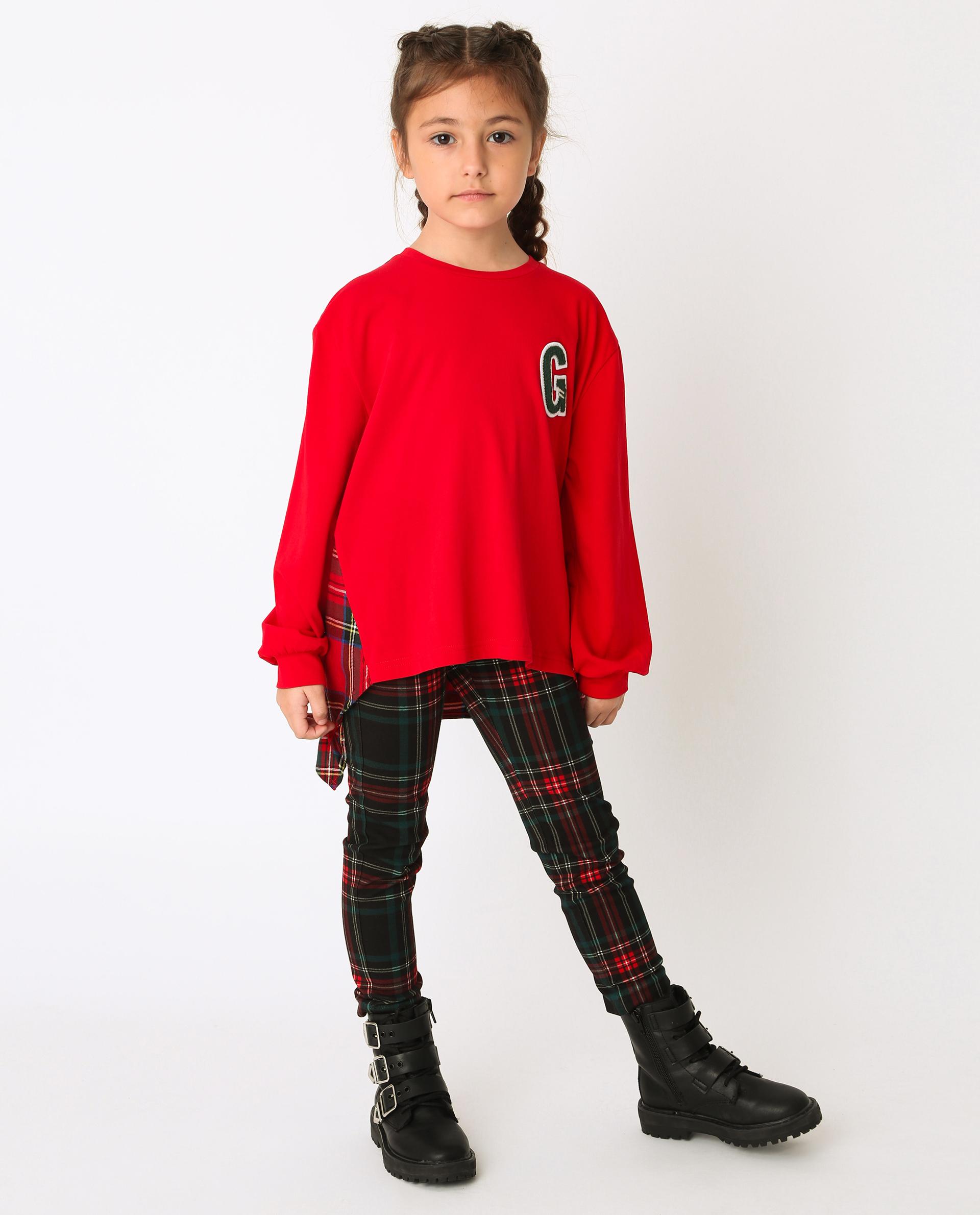 Купить 22002GMC1202, Красная футболка с длинным рукавом Gulliver, красный, 110, Хлопок, Женский, Зима, ОСЕНЬ/ЗИМА 2020-2021 (shop: GulliverMarket Gulliver Market)