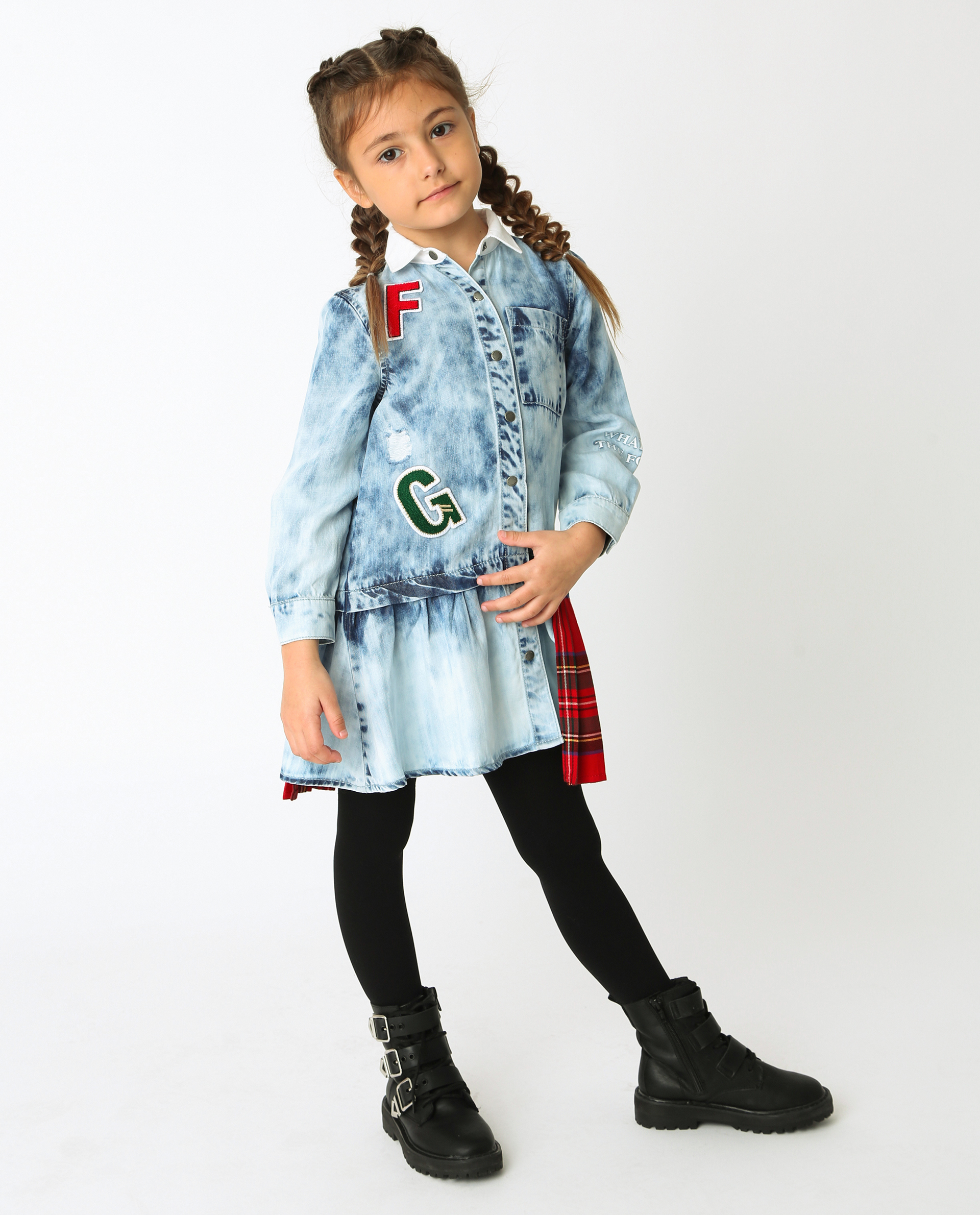 Купить 22002GMC2501, Голубое платье Gulliver, голубой, 116, Хлопок, Женский, Демисезон, ОСЕНЬ/ЗИМА 2020-2021 (shop: GulliverMarket Gulliver Market)