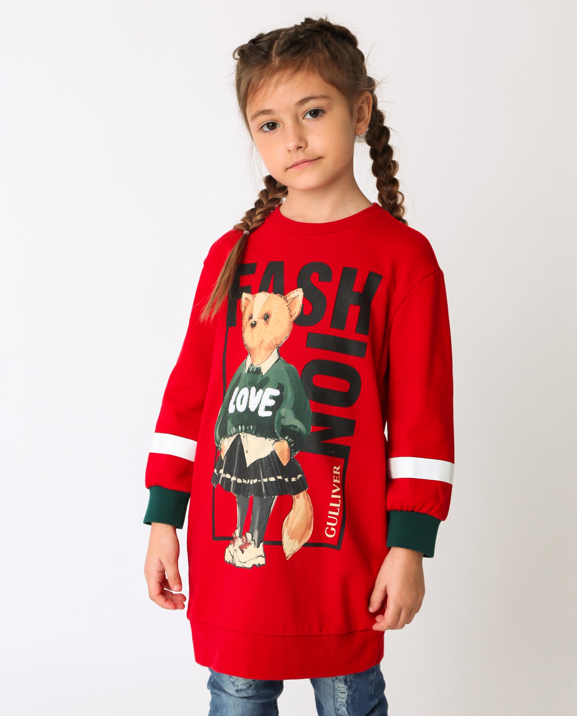 Купить 22002GMC5003, Красное платье Gulliver, красный, 116, Футер, Женский, Демисезон, ОСЕНЬ/ЗИМА 2020-2021 (shop: GulliverMarket Gulliver Market)