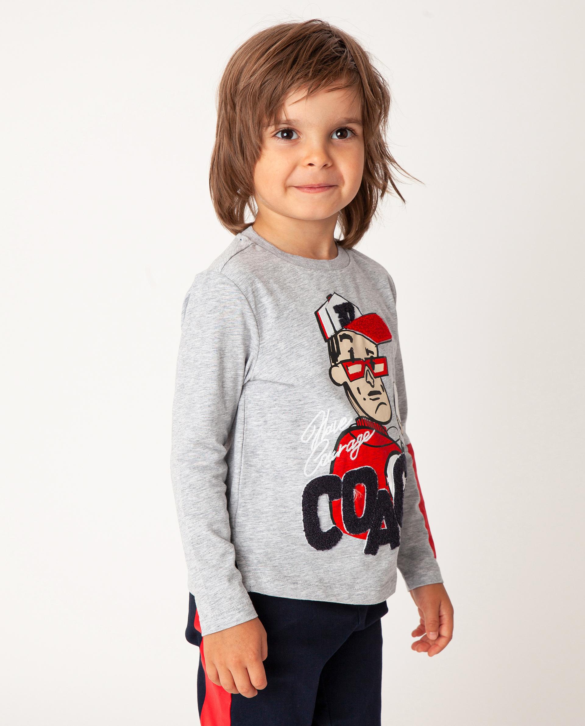 Купить 22005BMC1206, Серая футболка с длинным рукавом Gulliver, серый, 110, Футер, Мужской, Зима, ОСЕНЬ/ЗИМА 2020-2021 (shop: GulliverMarket Gulliver Market)