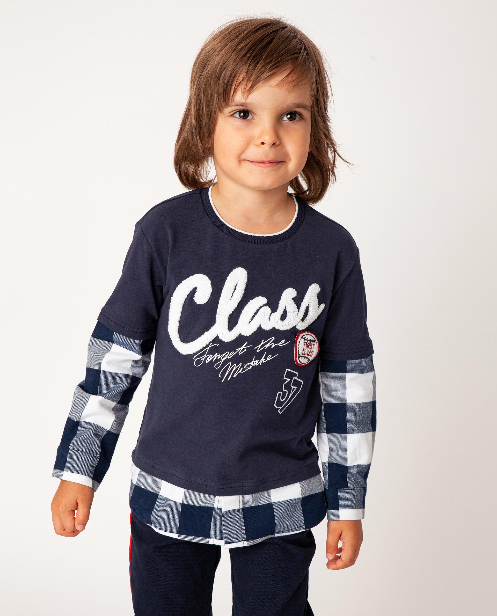 Купить 22005BMC1210, Синяя футболка с длинным рукавом Gulliver, синий, 110, Футер, Мужской, Зима, ОСЕНЬ/ЗИМА 2020-2021 (shop: GulliverMarket Gulliver Market)