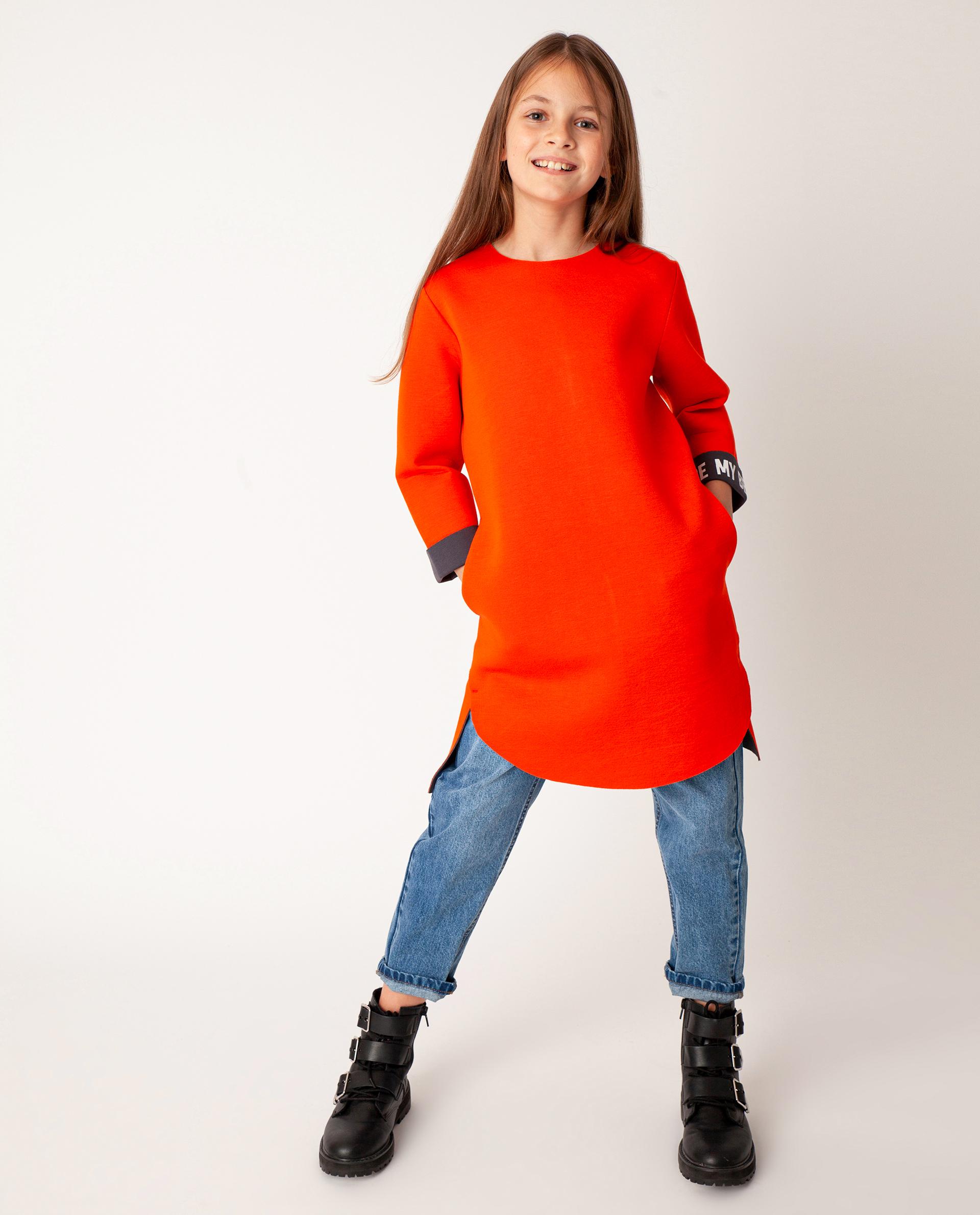 Купить 22008GJC5006, Оранжевое платье Gulliver, оранжевый, 146, Неопрен, Женский, Демисезон, ОСЕНЬ/ЗИМА 2020-2021 (shop: GulliverMarket Gulliver Market)