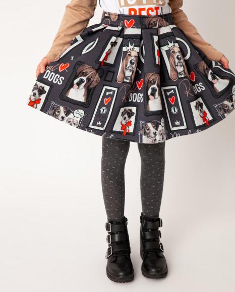 Серая юбка с принтом Gulliver