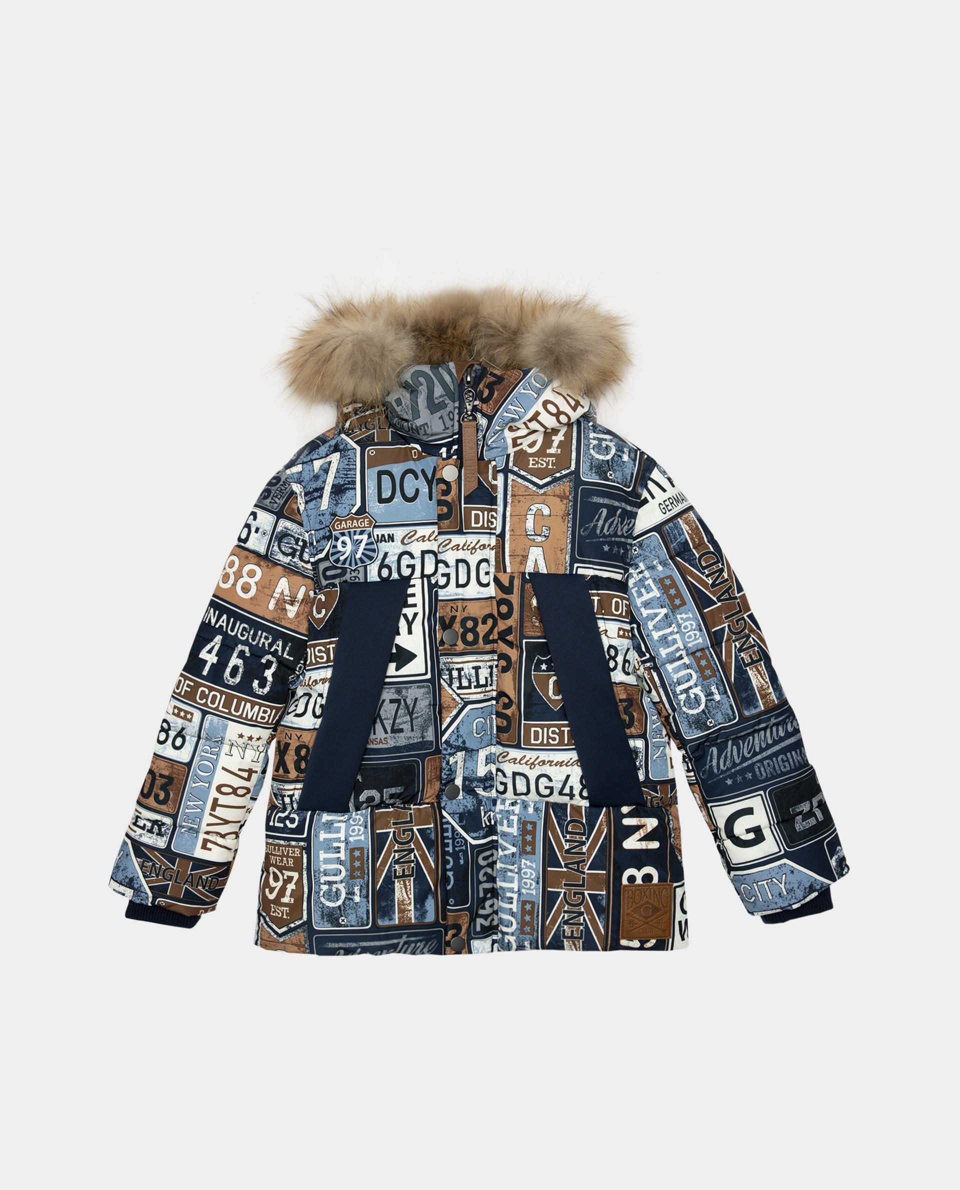 Купить 22010BJC4102, Синяя куртка зимняя Gulliver, синий, 164, Полиэстер, Мужской, Зима, ОСЕНЬ/ЗИМА 2020-2021 (shop: GulliverMarket Gulliver Market)