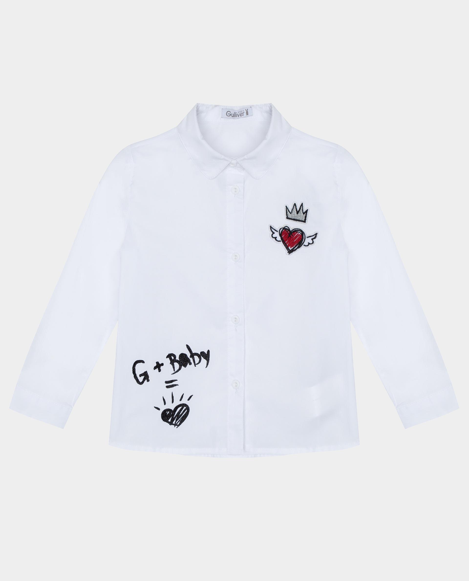 Купить 22031GBC2201, Белая рубашка с длинным рукавом Gulliver, белый, 92, Хлопок, Женский, Демисезон, ОСЕНЬ/ЗИМА 2020-2021 (shop: GulliverMarket Gulliver Market)