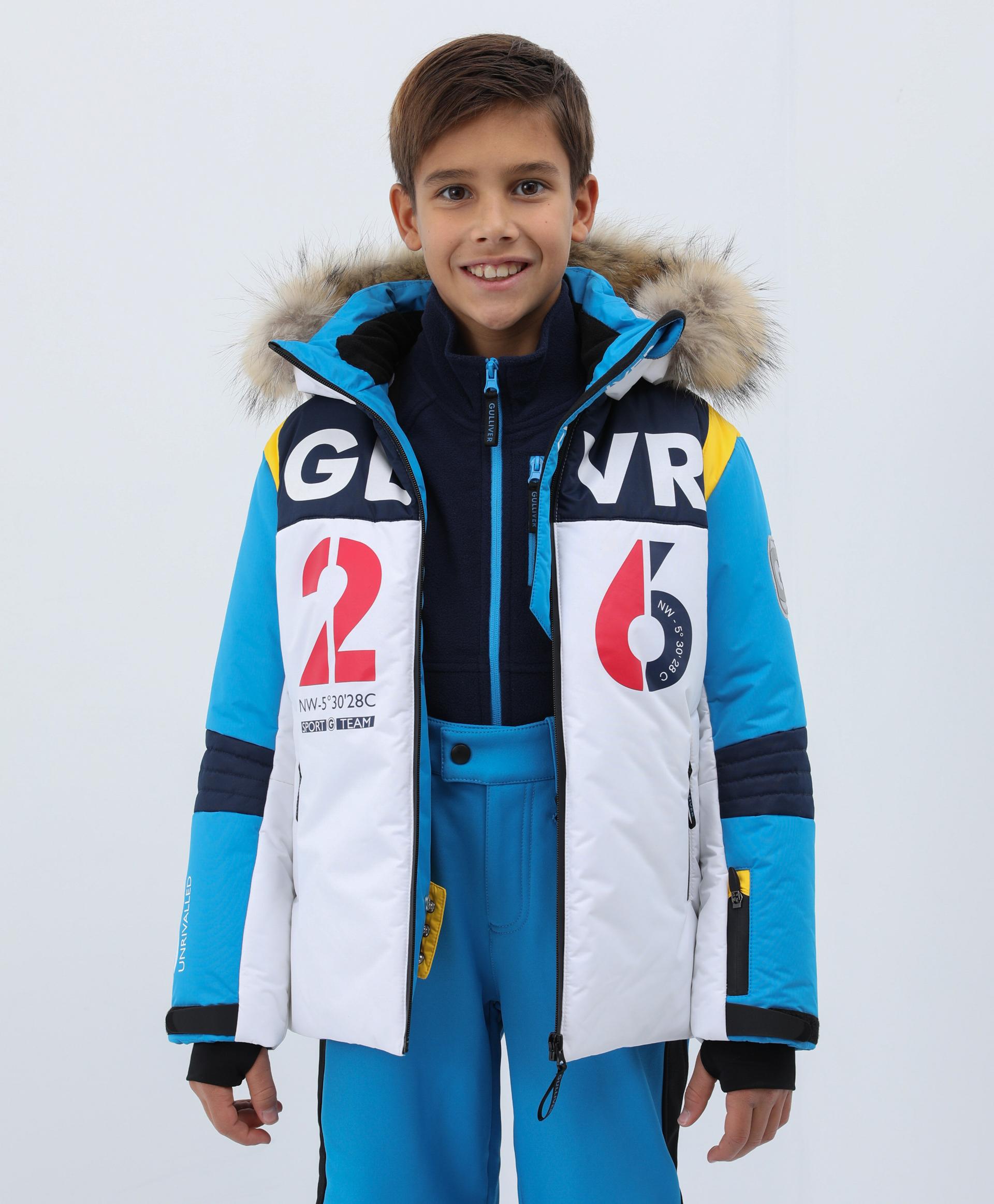 Купить 220FBC4101, Куртка зимняя с капюшоном Gulliver, синий, 104, Полиэстер, Мужской, Зима, ОСЕНЬ/ЗИМА 2021-2022 (shop: GulliverMarket Gulliver Market)