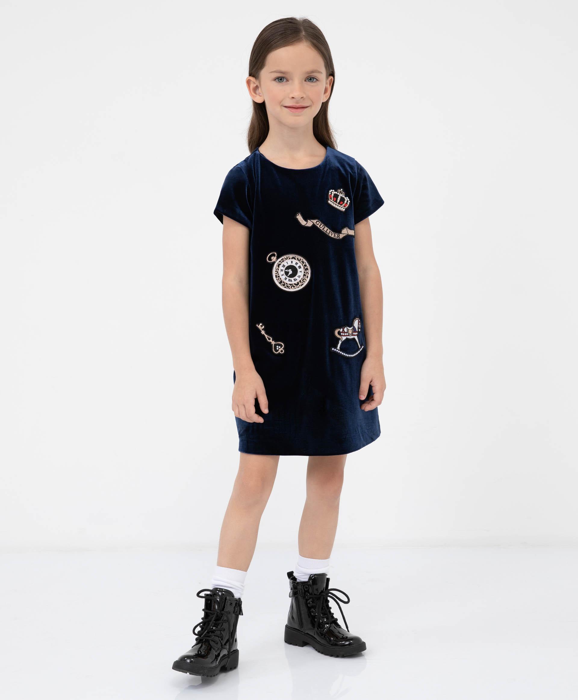 Платье синее Gulliver 220GPGMC5001 синего цвета