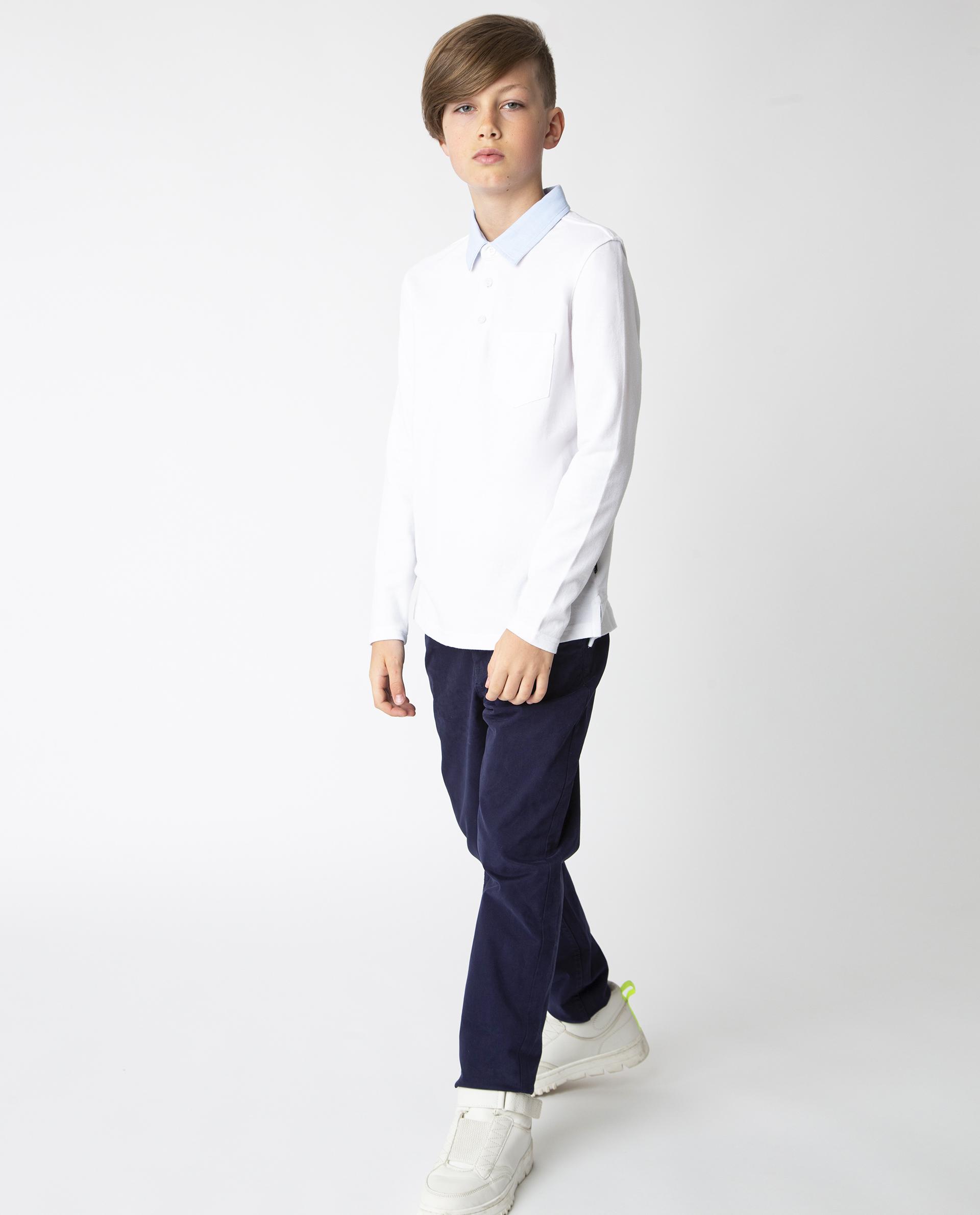 Купить 220GSBC1401, Белое поло с длинным рукавом Gulliver, белый, 122, Хлопок, Мужской, Демисезон, ШКОЛЬНАЯ ФОРМА 2020-2021 (shop: GulliverMarket Gulliver Market)
