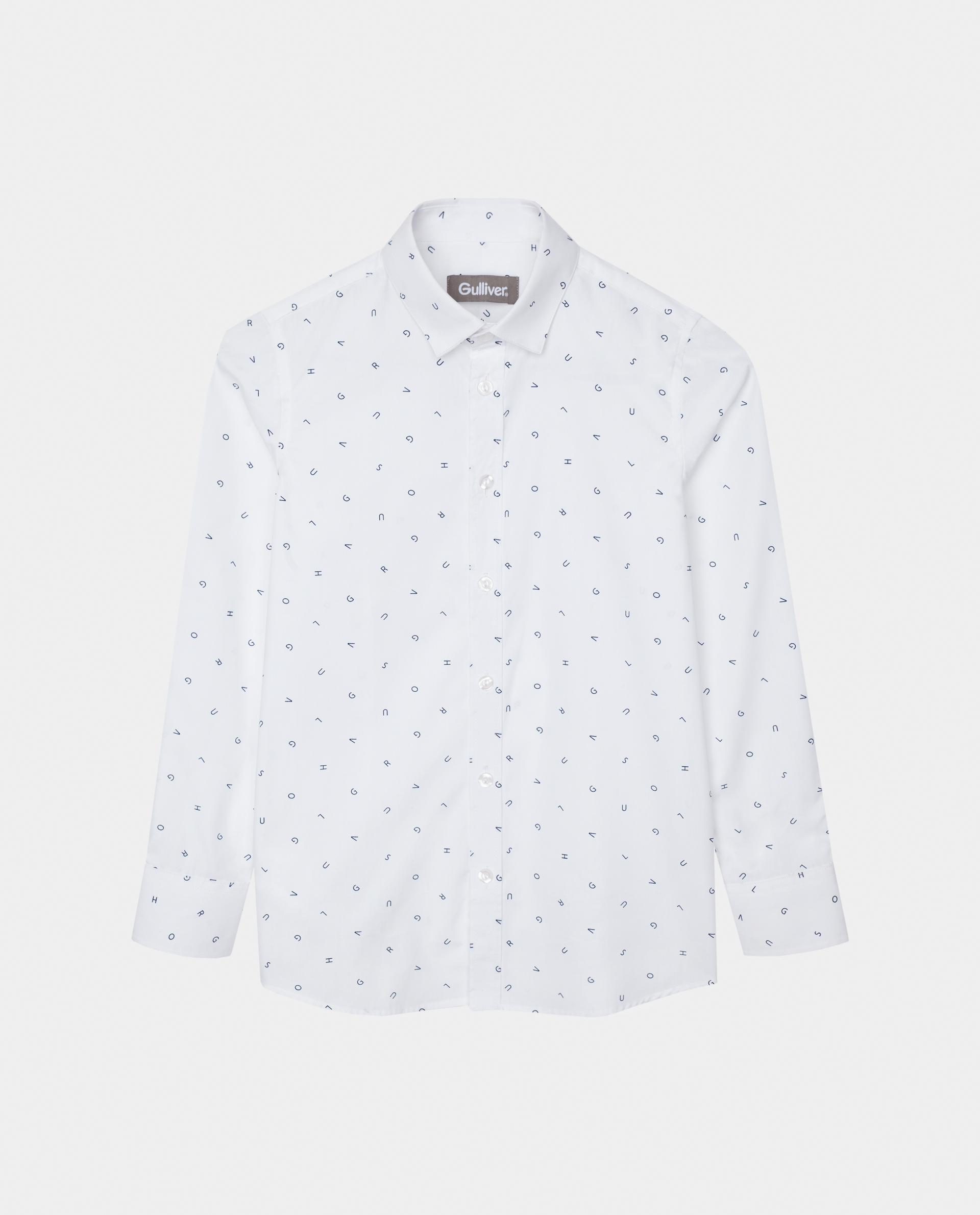 Купить 220GSBC2314, Белая рубашка с принтом Gulliver, белый, 170, Мужской, Демисезон, ШКОЛЬНАЯ ФОРМА 2020-2021 (shop: GulliverMarket Gulliver Market)